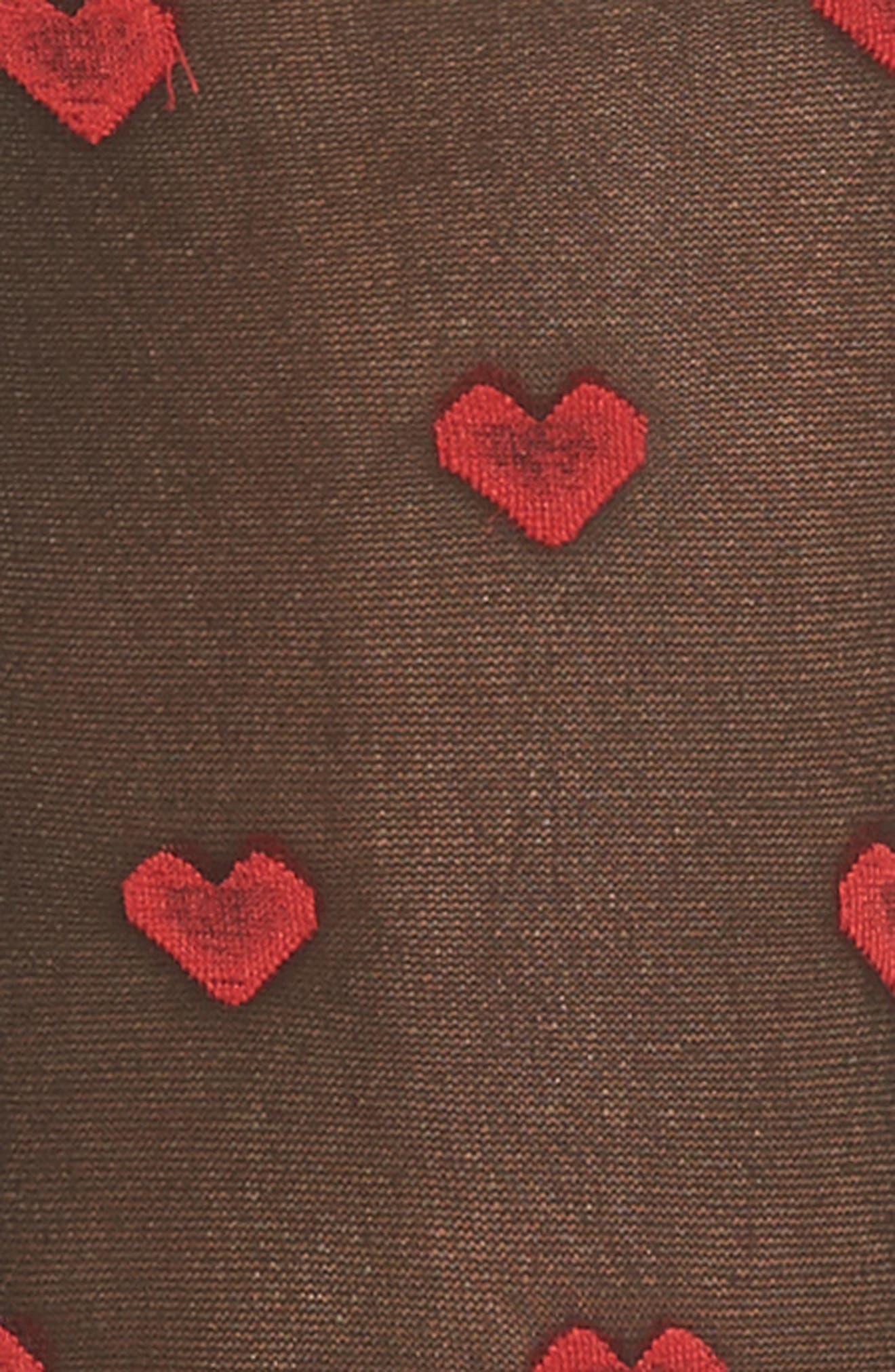 Heart Sheer Socks,                             Alternate thumbnail 2, color,                             Black