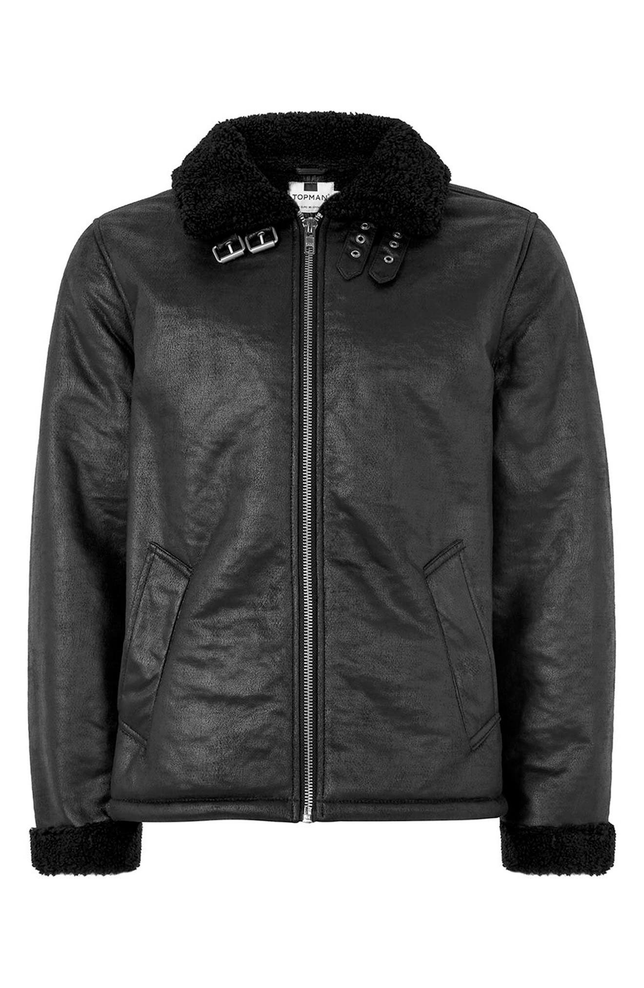 Faux Shearling Jacket,                             Alternate thumbnail 4, color,                             Black