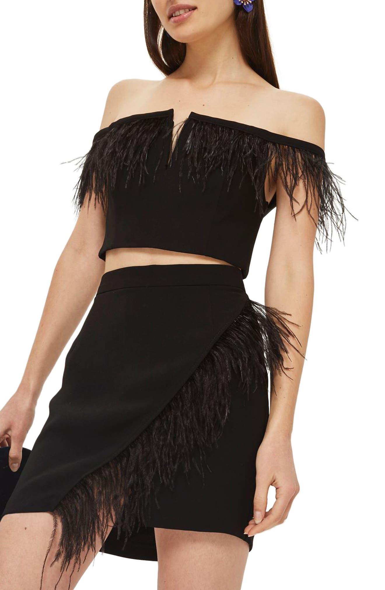 Feather Trim Faux Wrap Miniskirt,                         Main,                         color, Black