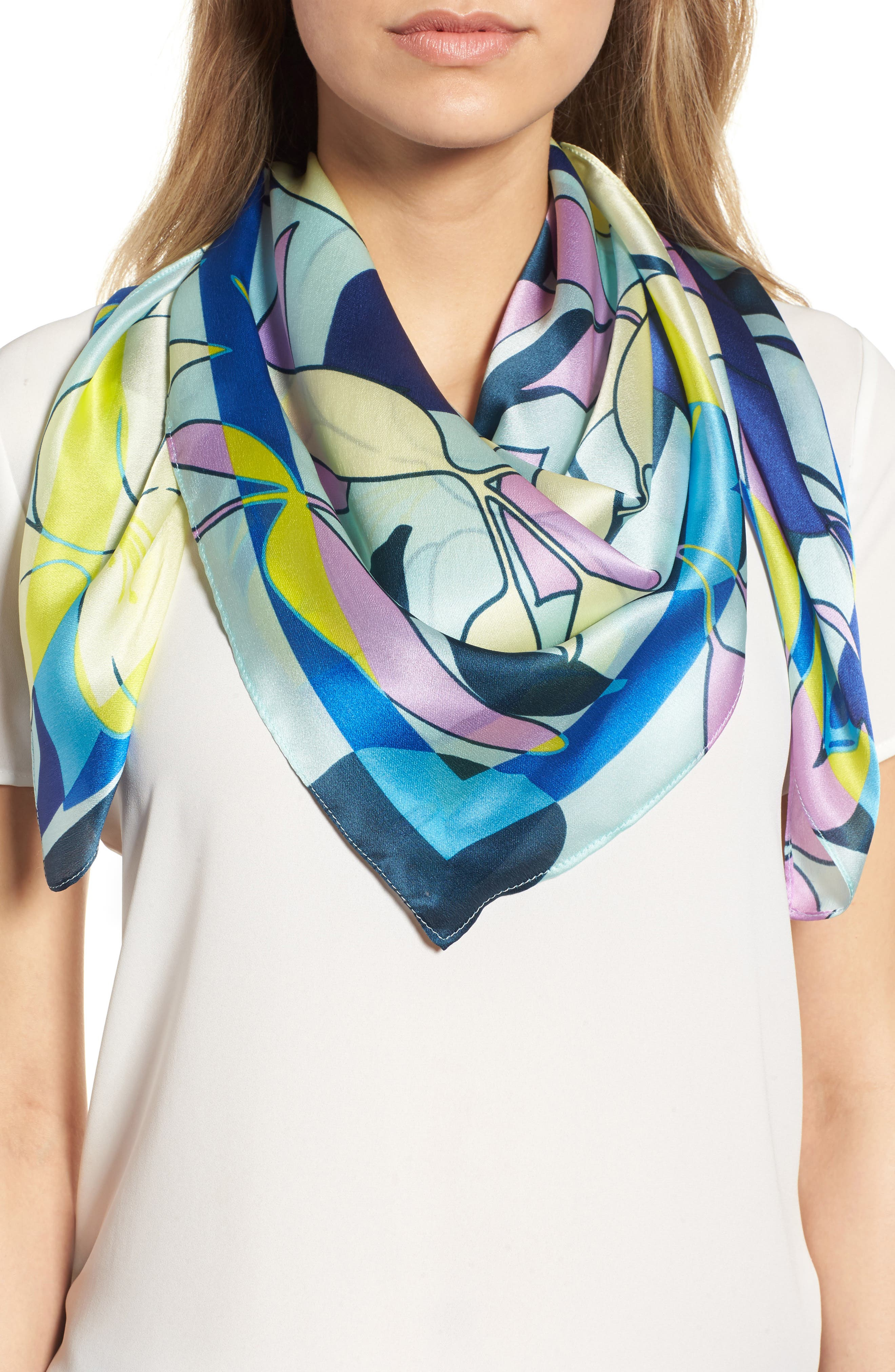 Print Silk Scarf,                             Main thumbnail 1, color,                             Blue Pop Art Floral