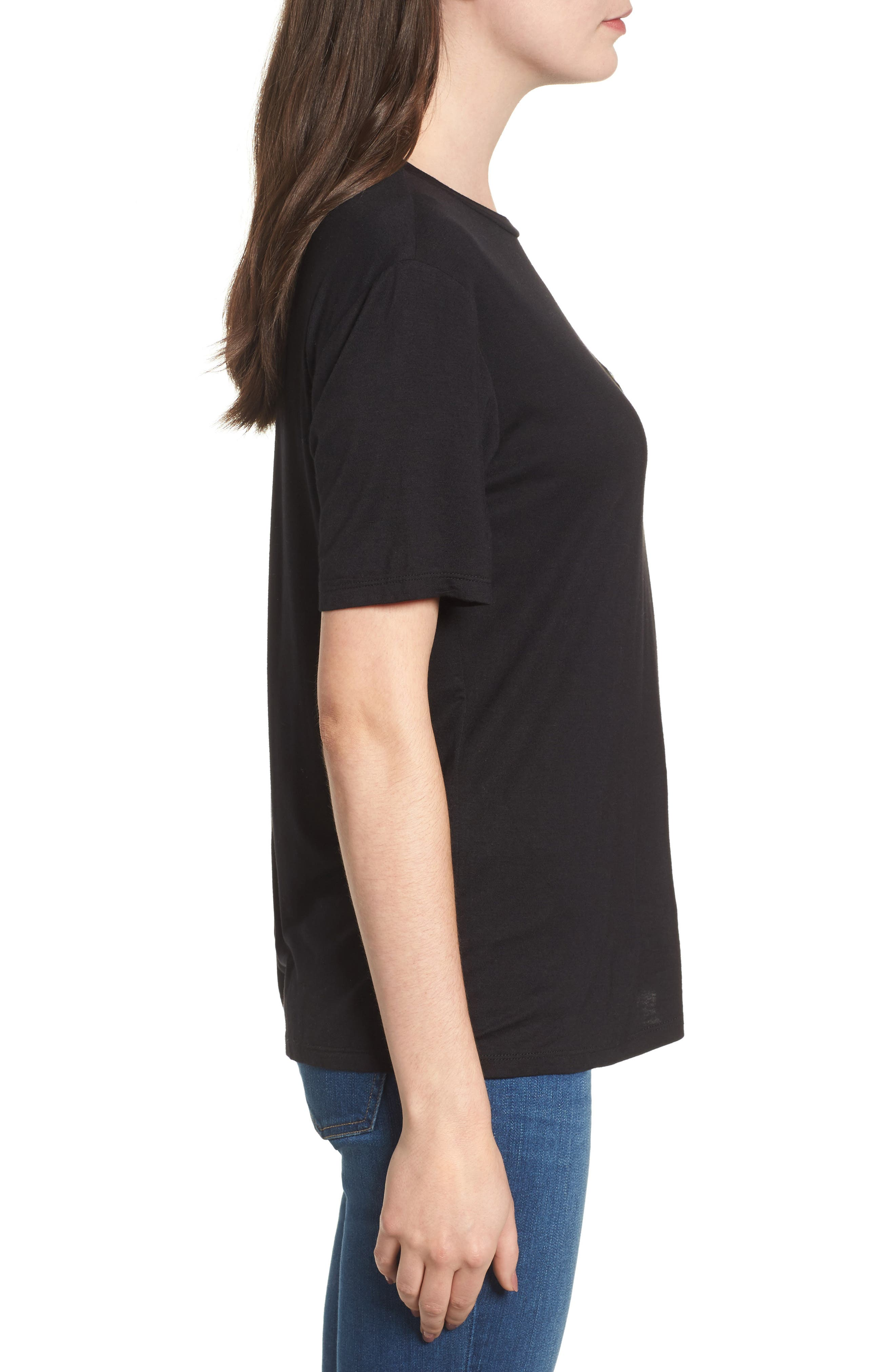 Floral Tee,                             Alternate thumbnail 3, color,                             Black