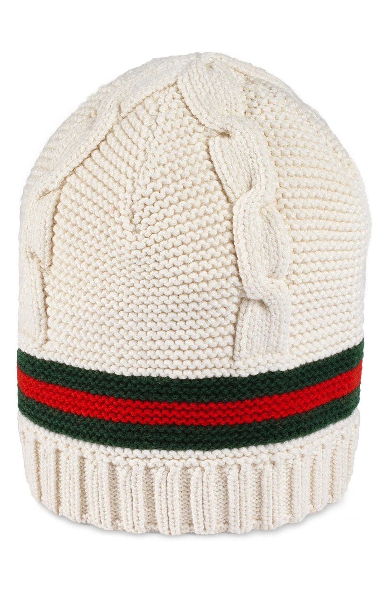 Liom Cable Knit Beanie,                         Main,                         color, White/ Dark Green