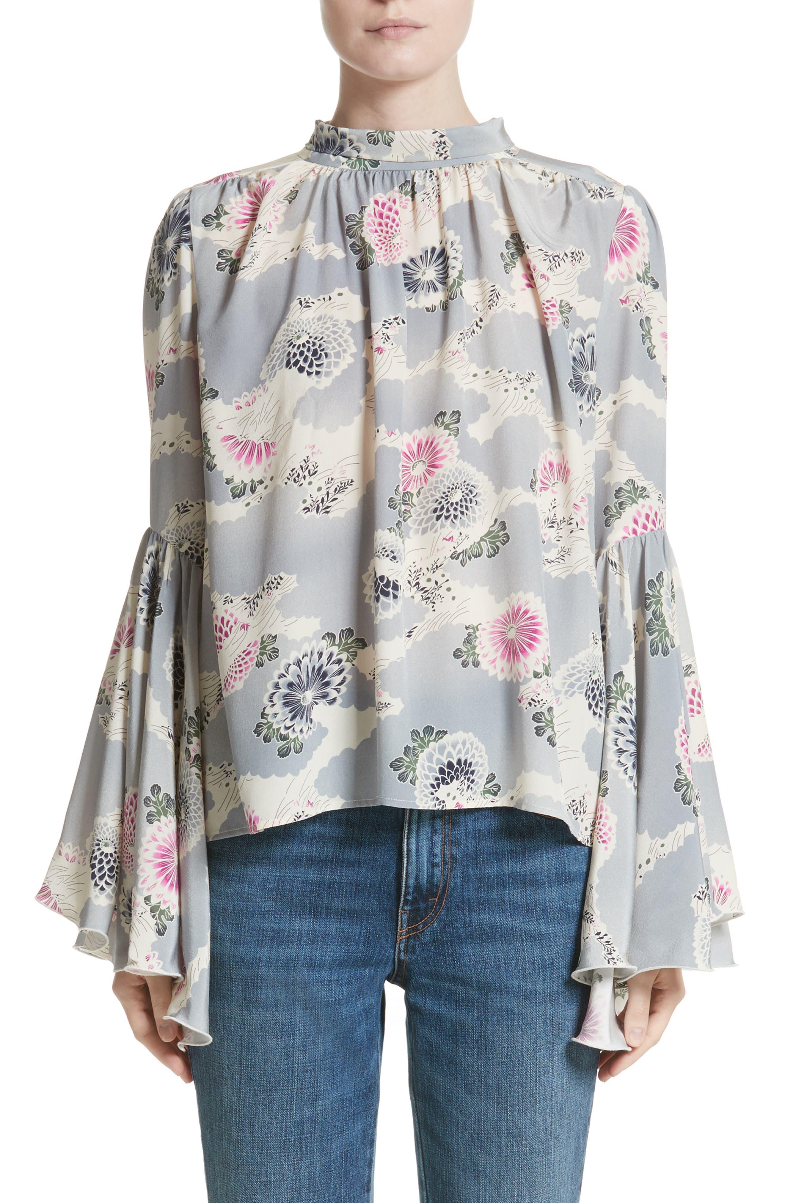 Co Flutter Sleeve Floral Print Silk Blouse