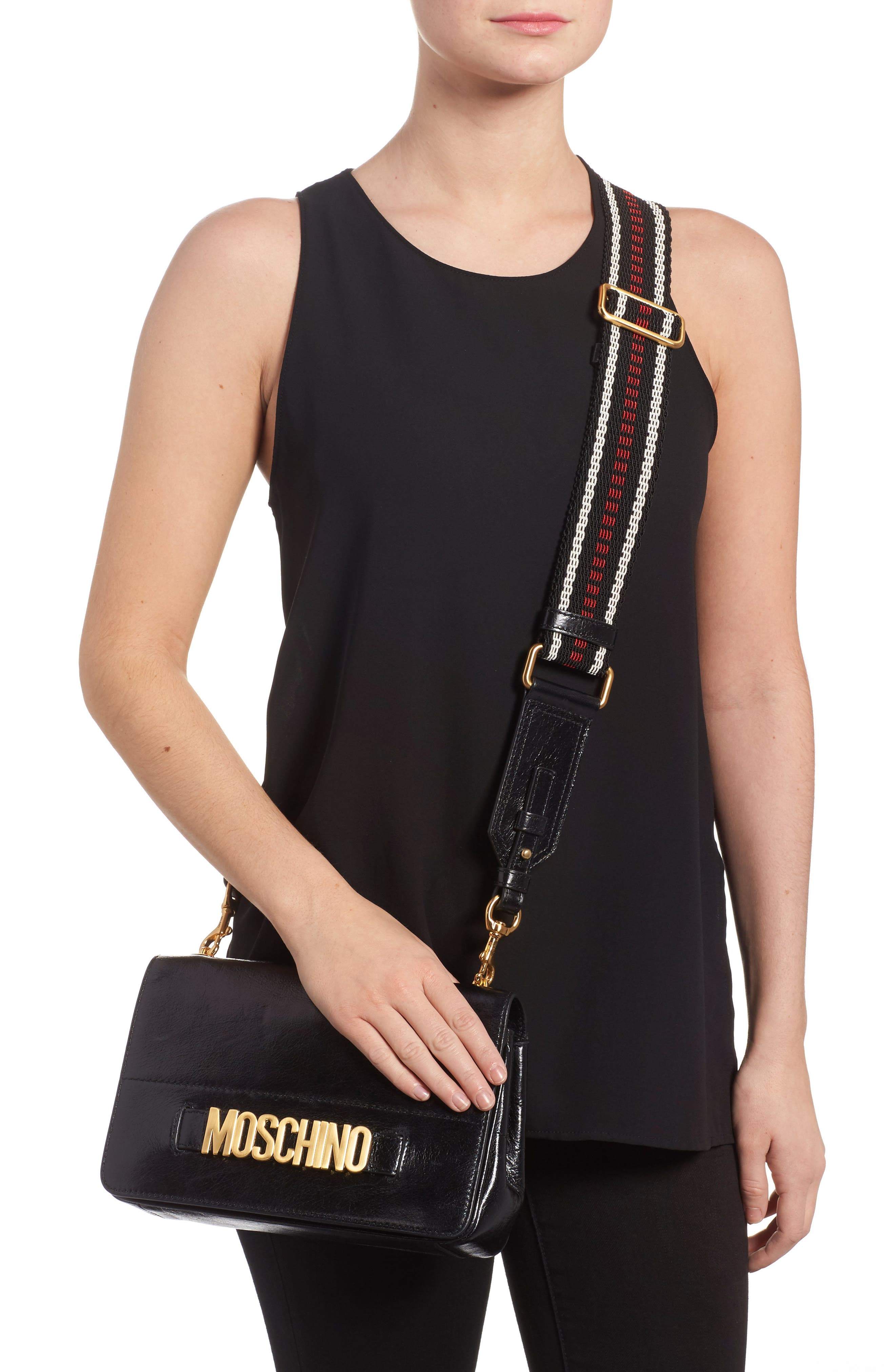 Logo Calfskin Leather Crossbody Bag,                             Alternate thumbnail 2, color,                             Black