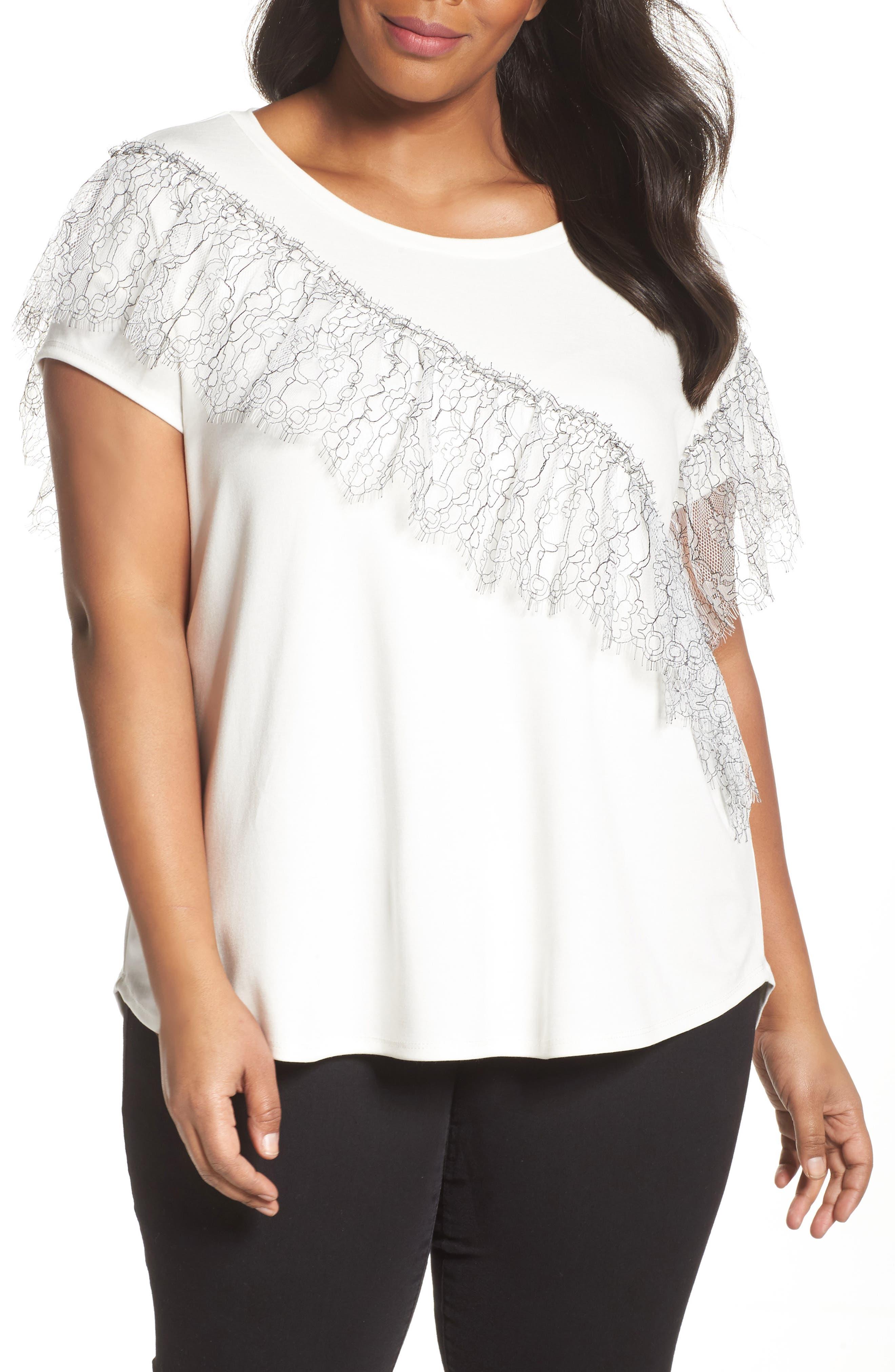 Asymmetrical Lace Tee,                         Main,                         color, White- Black