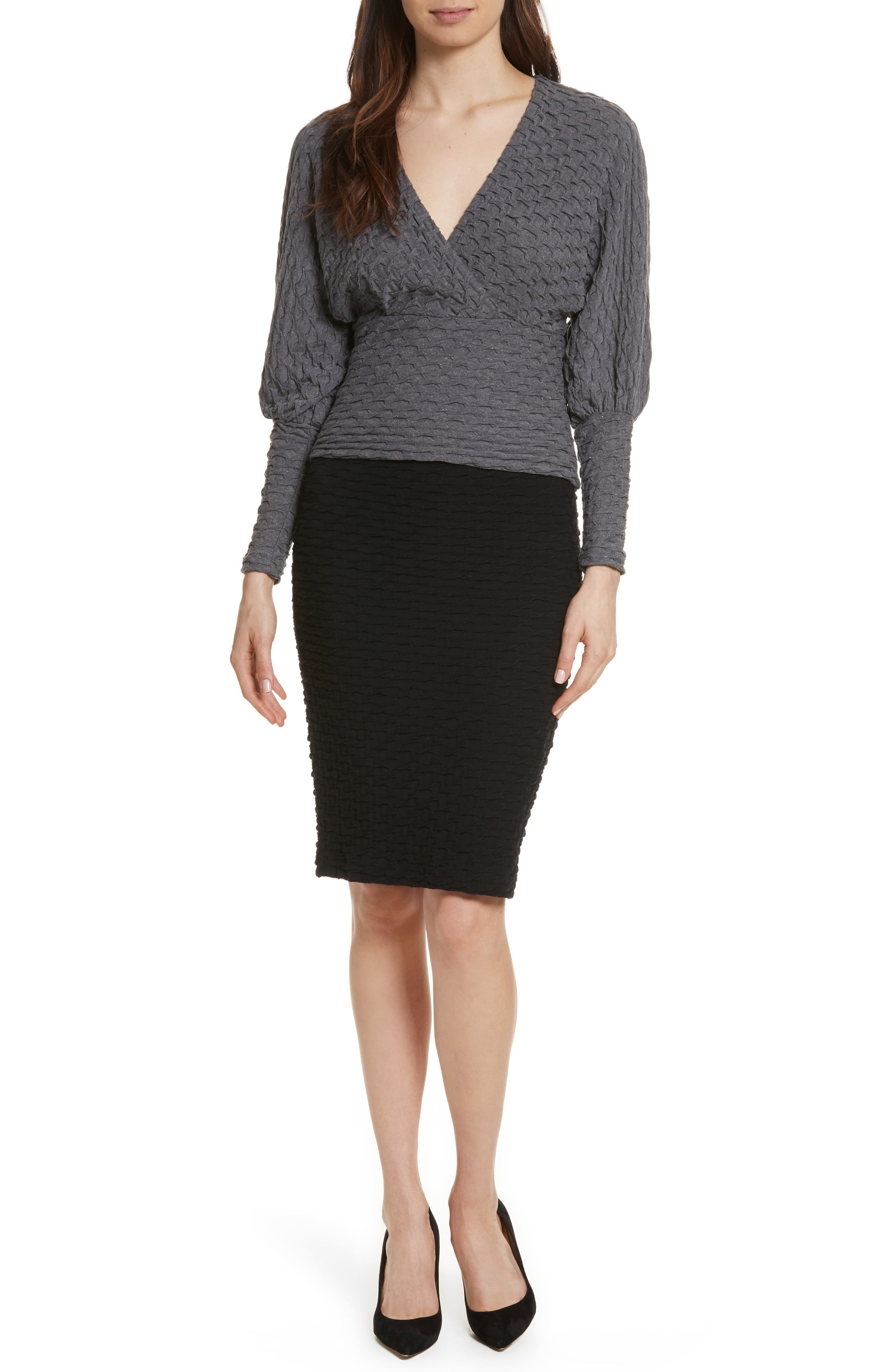 Surplice Sweater,                             Alternate thumbnail 6, color,                             Grey