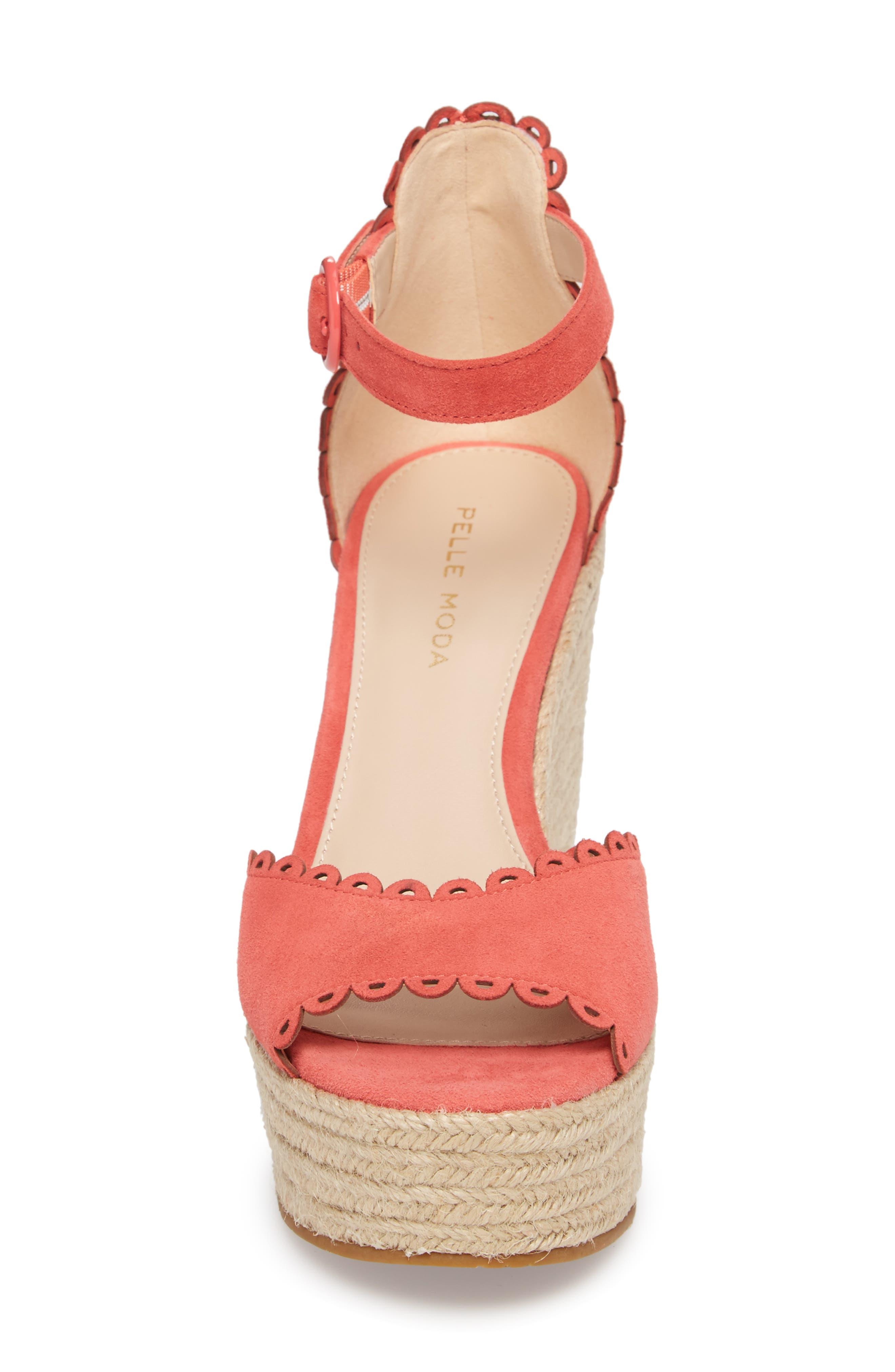 Raine Platform Espadrille Sandal,                             Alternate thumbnail 4, color,                             Flamingo Suede