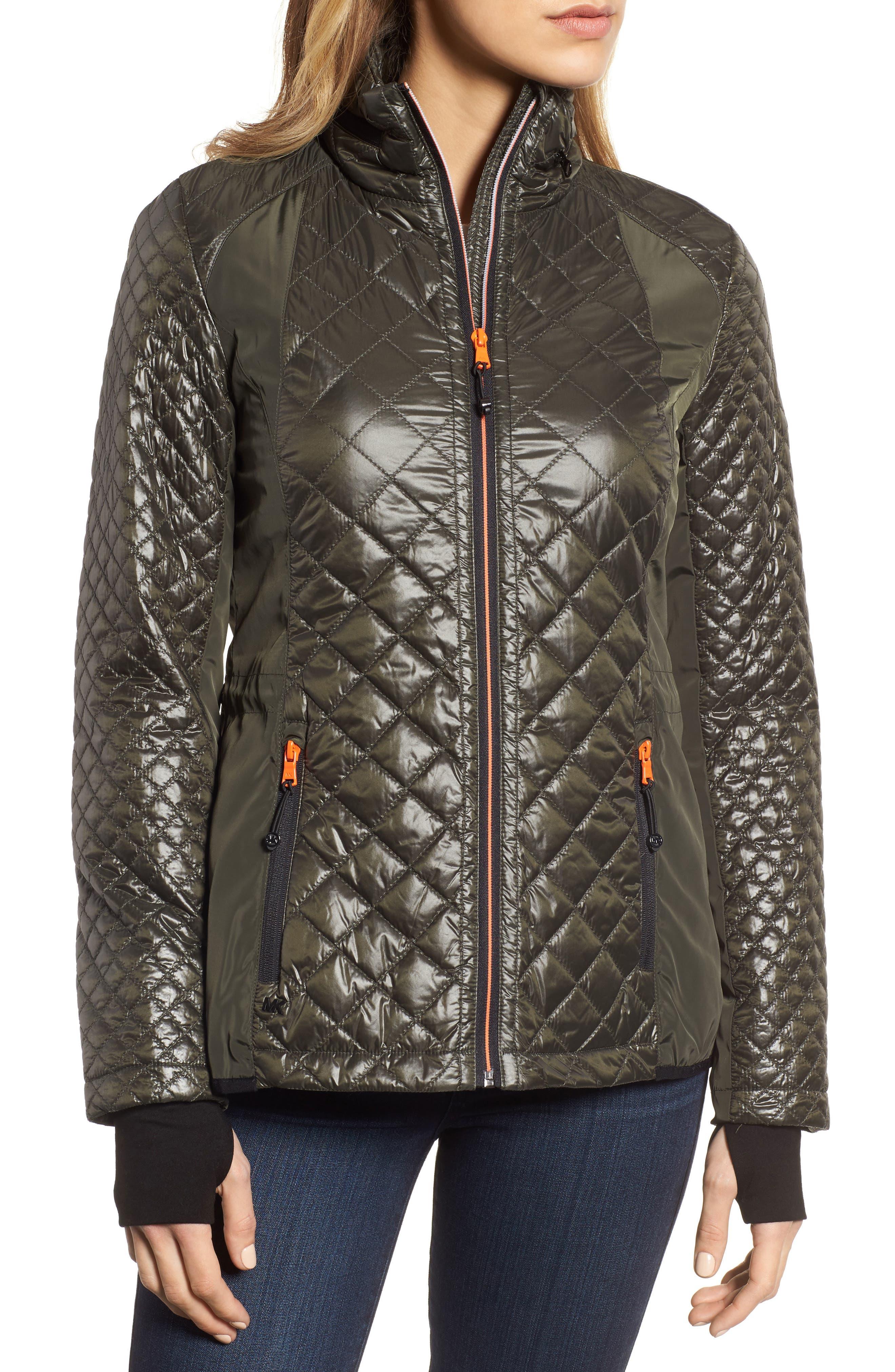 Neoprene & Diamond Quilted Jacket,                             Alternate thumbnail 4, color,                             Olive