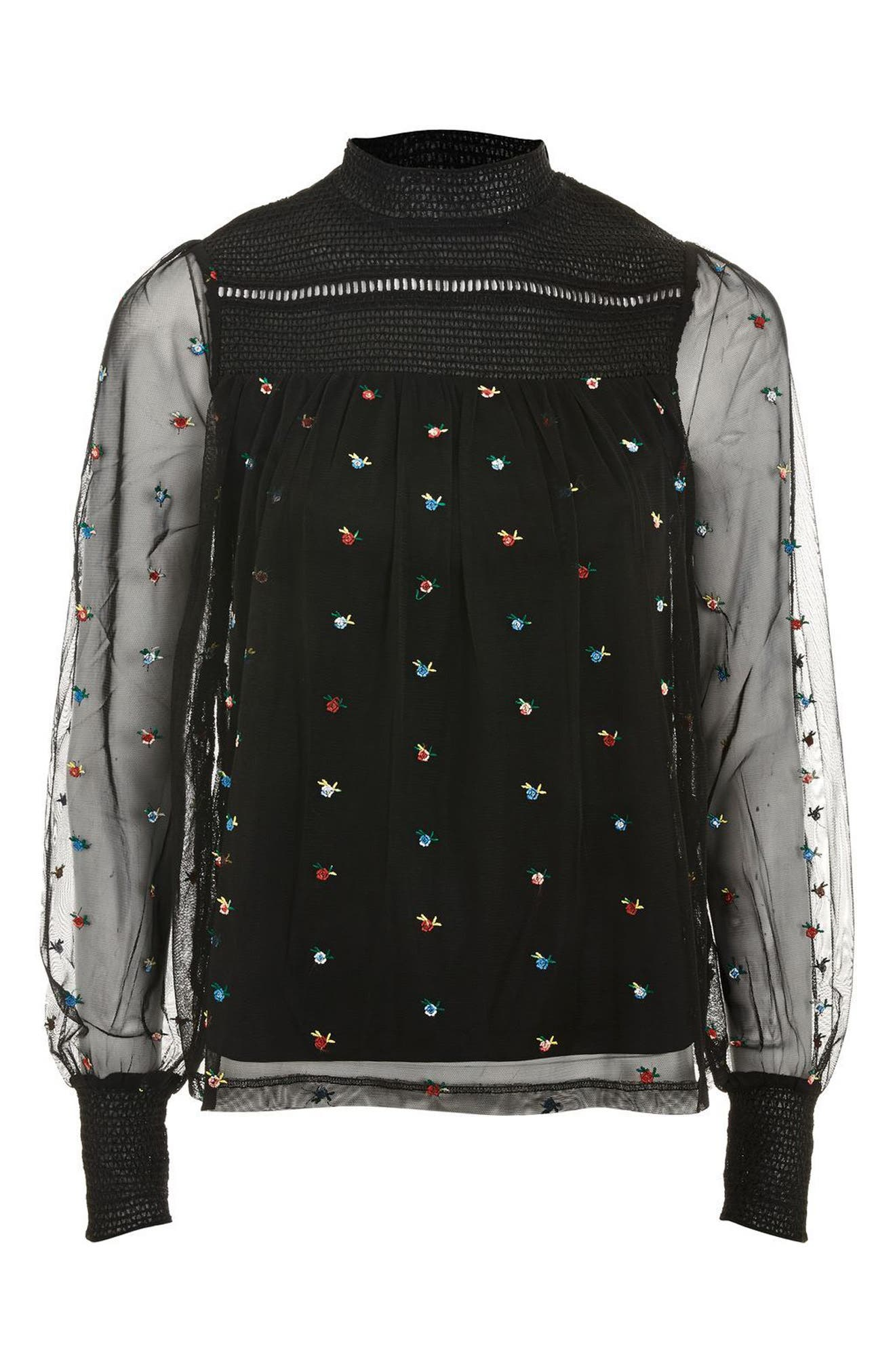 Alternate Image 4  - Topshop Ditsy Embroidered Smock Top