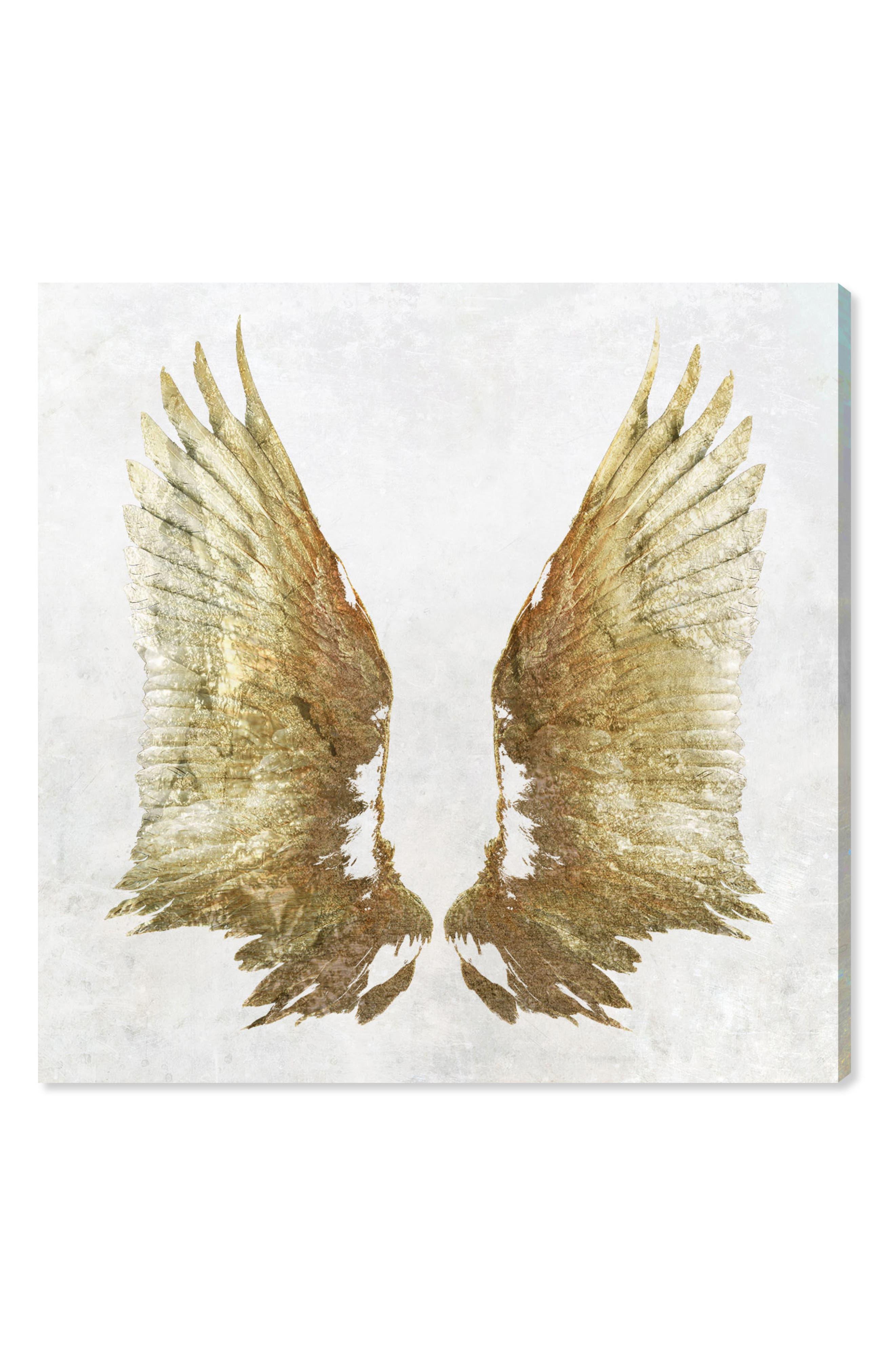 Golden Wings Light Canvas Wall Art,                             Main thumbnail 1, color,                             White