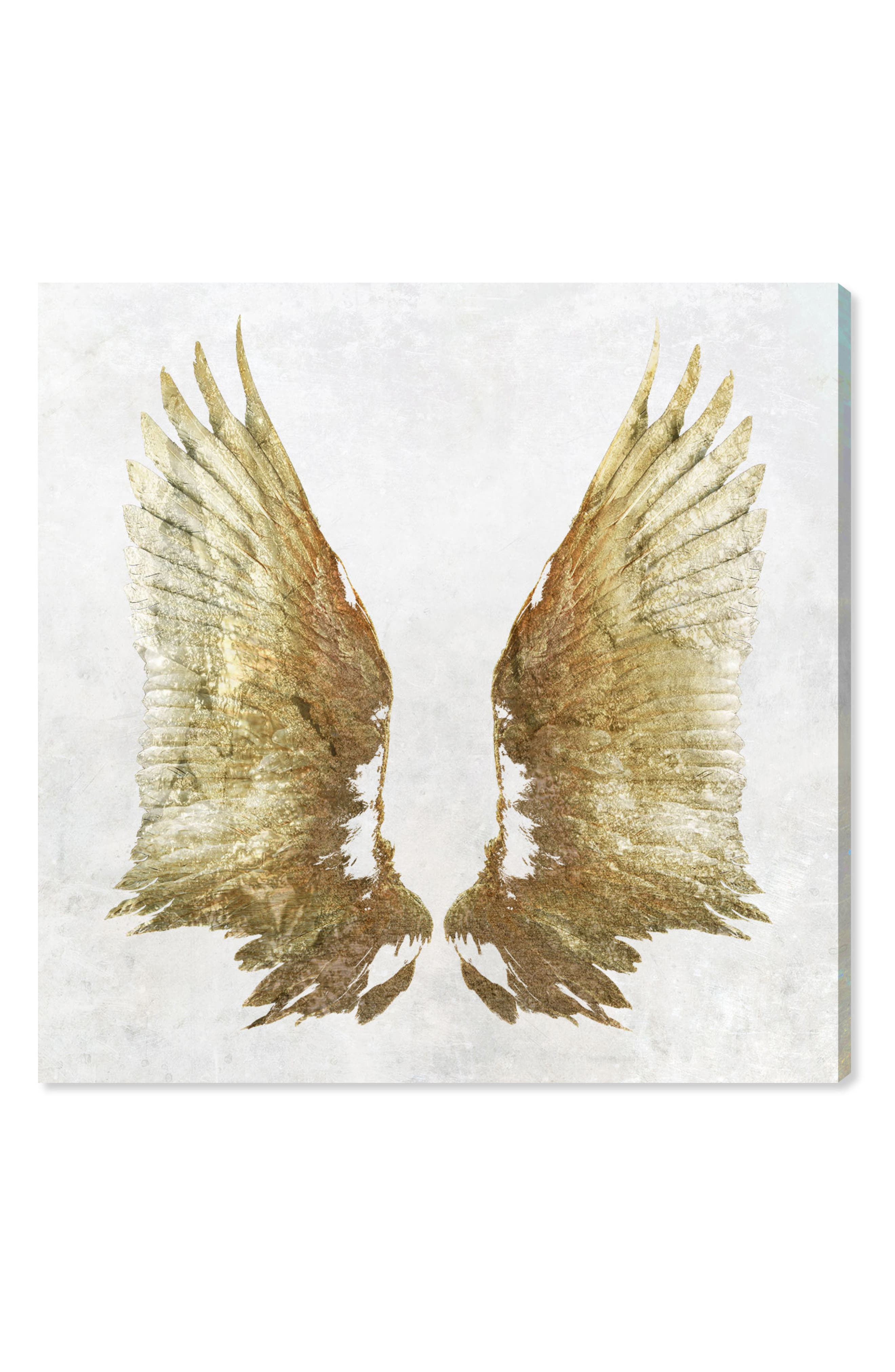 Golden Wings Light Canvas Wall Art,                         Main,                         color, White