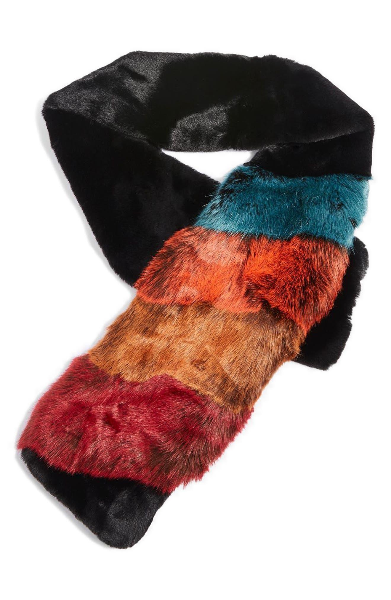 Colorblock Faux Fur Scarf,                             Alternate thumbnail 2, color,                             Black Multi