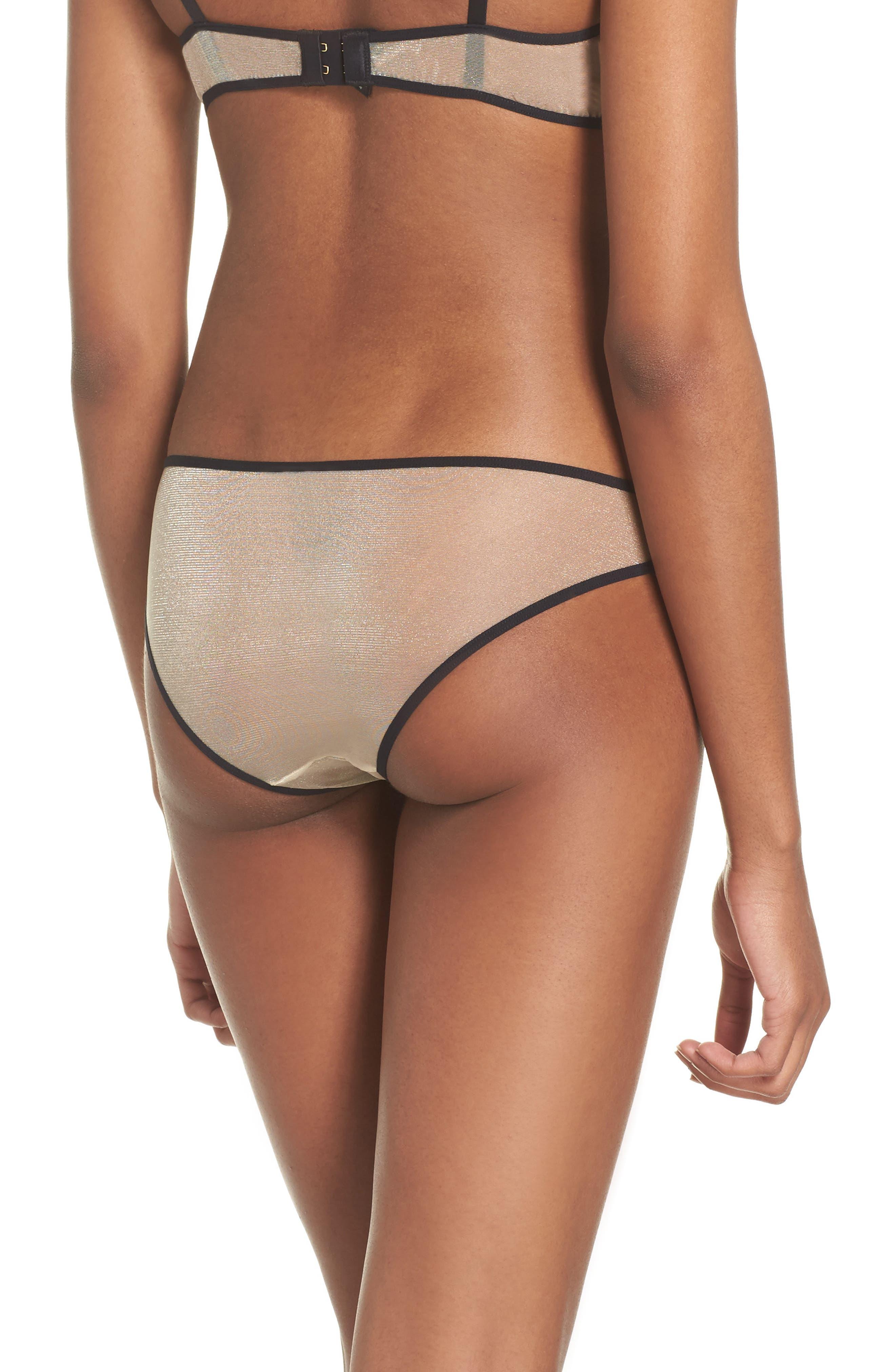 L'Antichambre Sheer Panties,                             Alternate thumbnail 2, color,                             Black / Nude