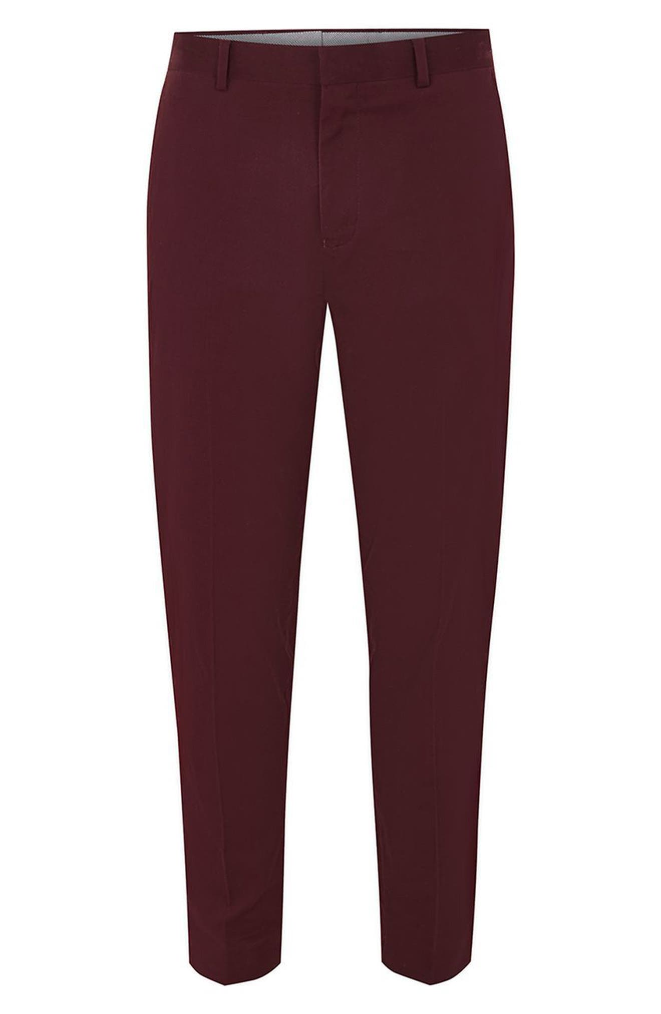 Twill Tapered Trousers,                             Alternate thumbnail 4, color,                             Burgundy
