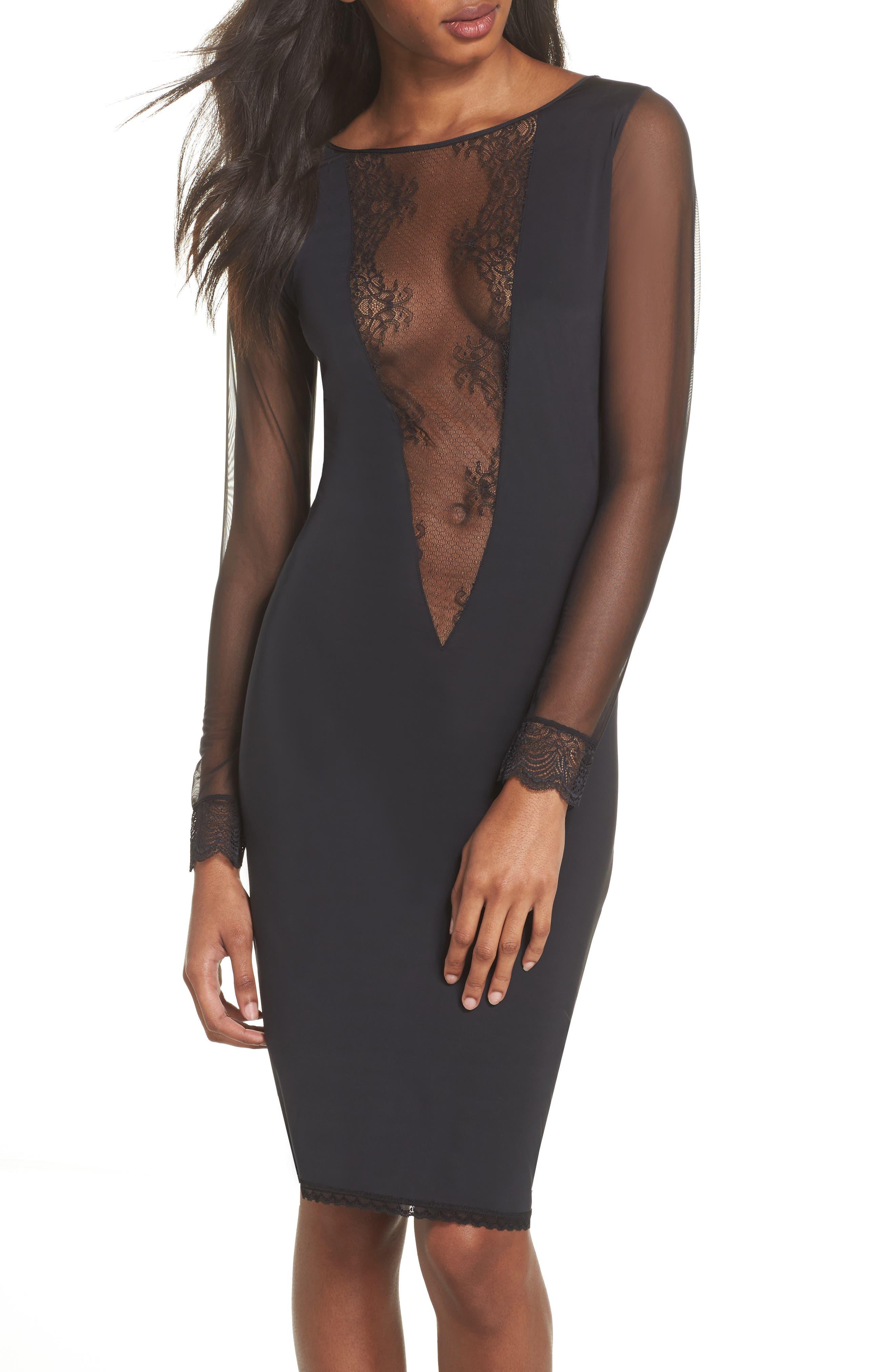 La Directrice Sheer Dress,                         Main,                         color, Black