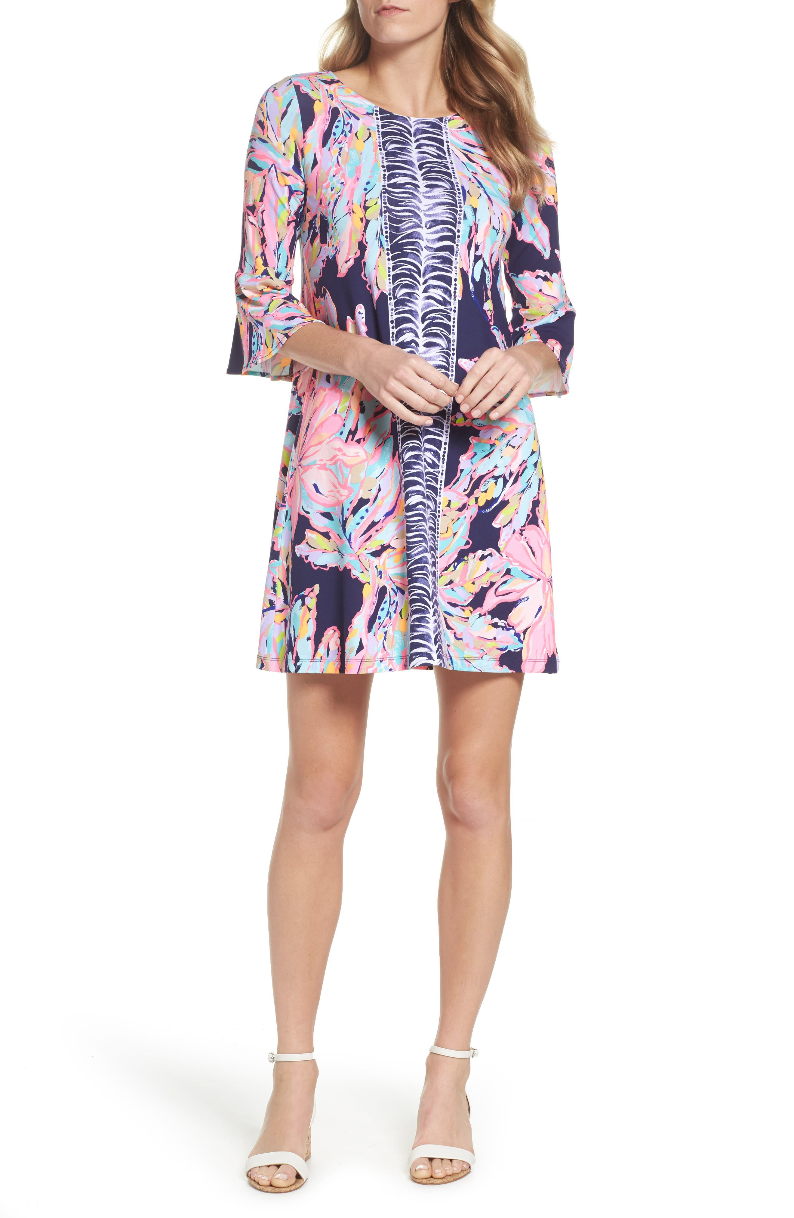 Ophelia Swing Dress,                         Main,                         color, Bright Navy Al Fresco