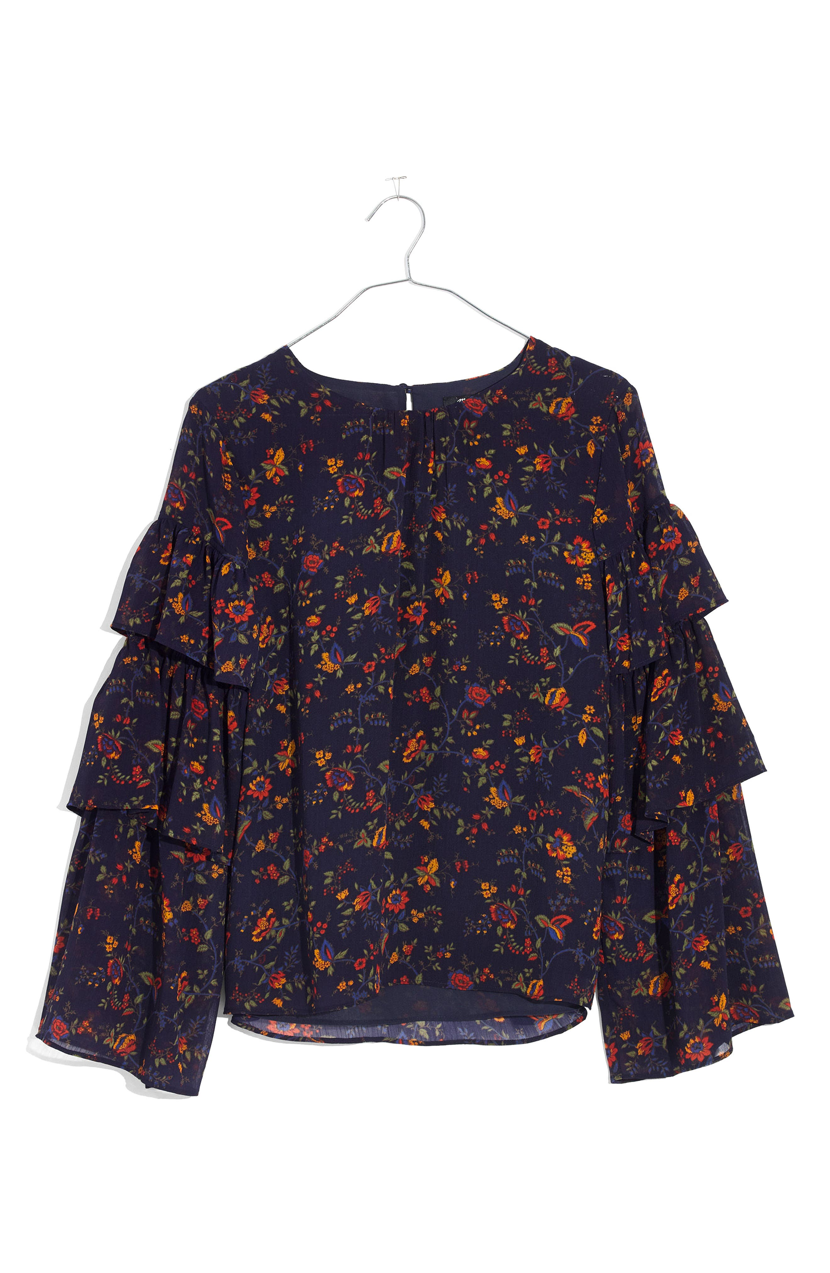Ruffle Sleeve Top,                             Alternate thumbnail 3, color,                             Oriental Floral Midnight