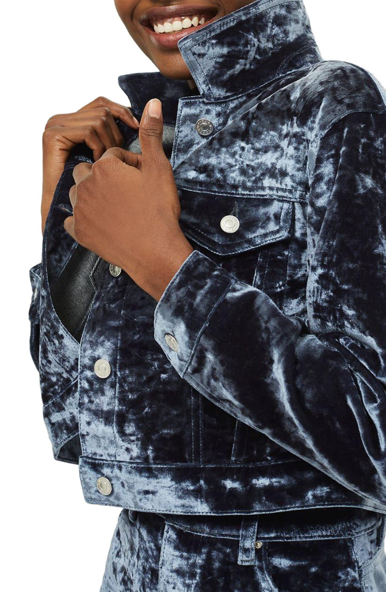 Bonded Velvet Jacket,                             Alternate thumbnail 3, color,                             Blue