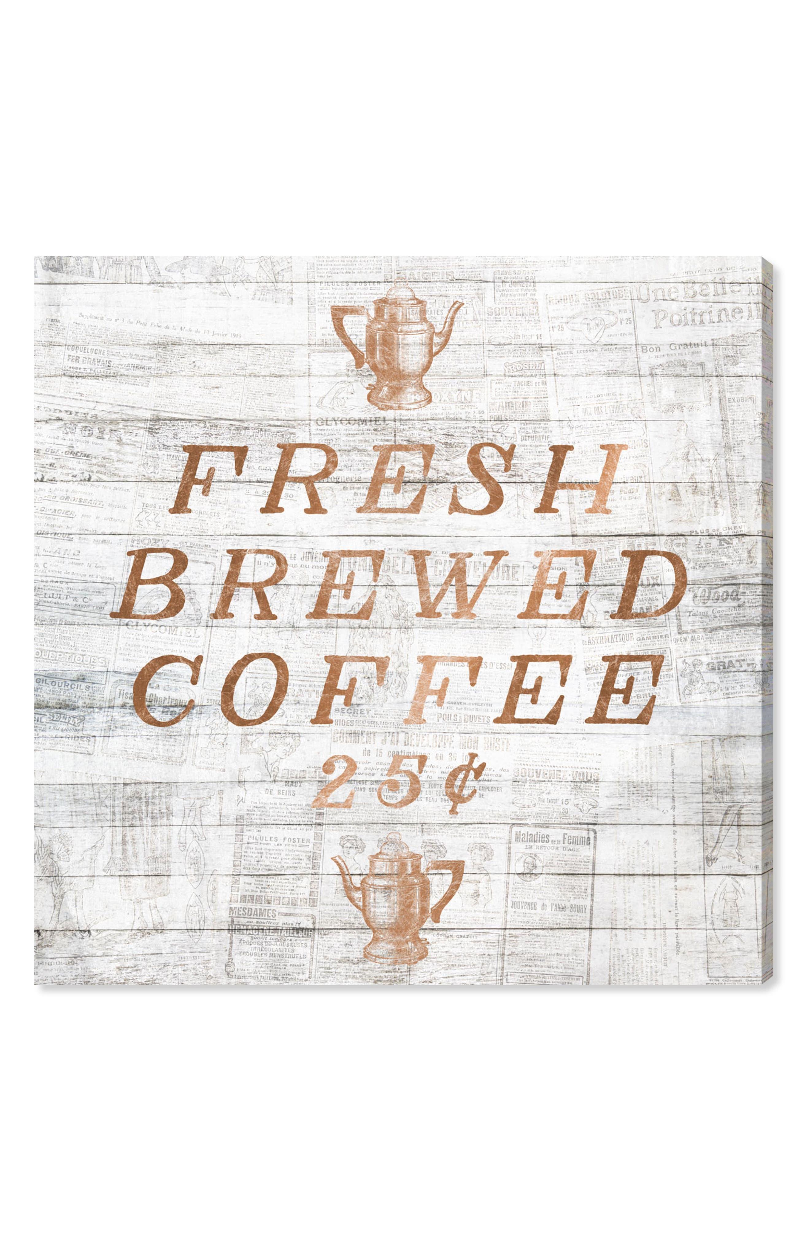 Fresh Brewed Coffee Canvas Wall Art,                         Main,                         color, Metallic Rust/ Copper