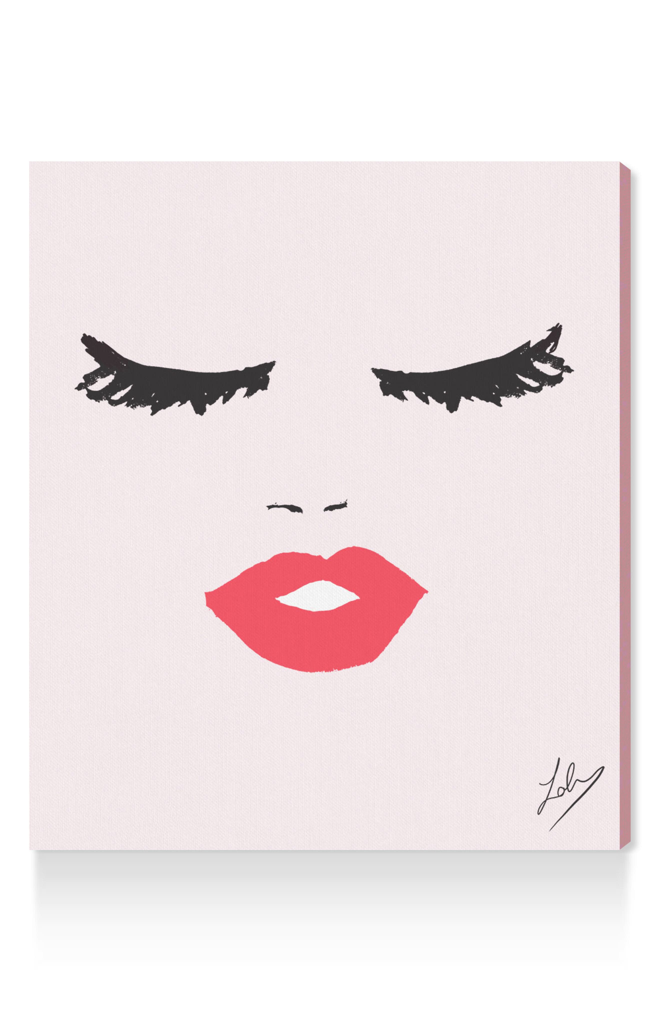 Fashionista Face Canvas Wall Art,                         Main,                         color, Pink