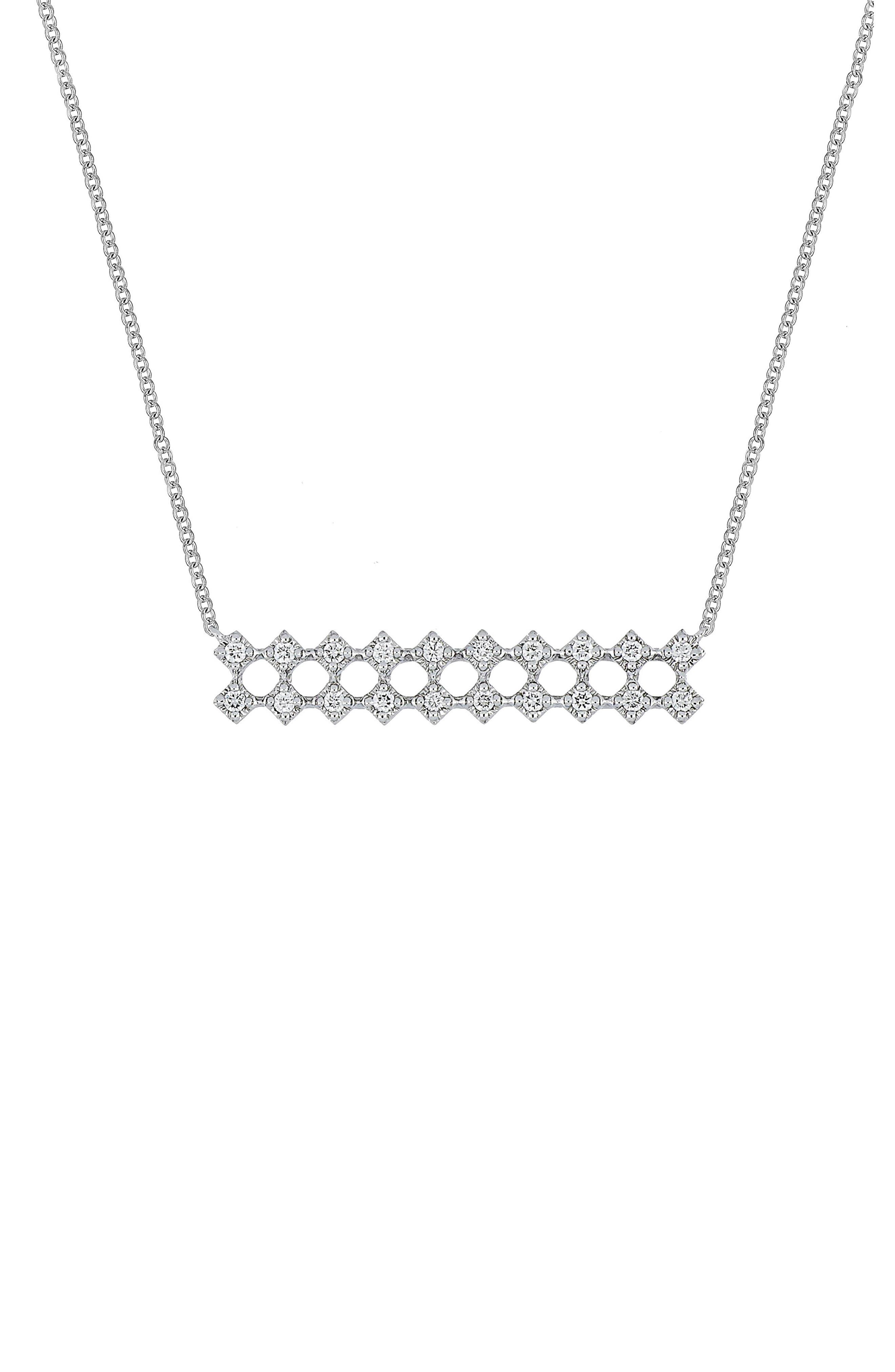 Mila Large Bar Pendant Necklace,                         Main,                         color, White Gold