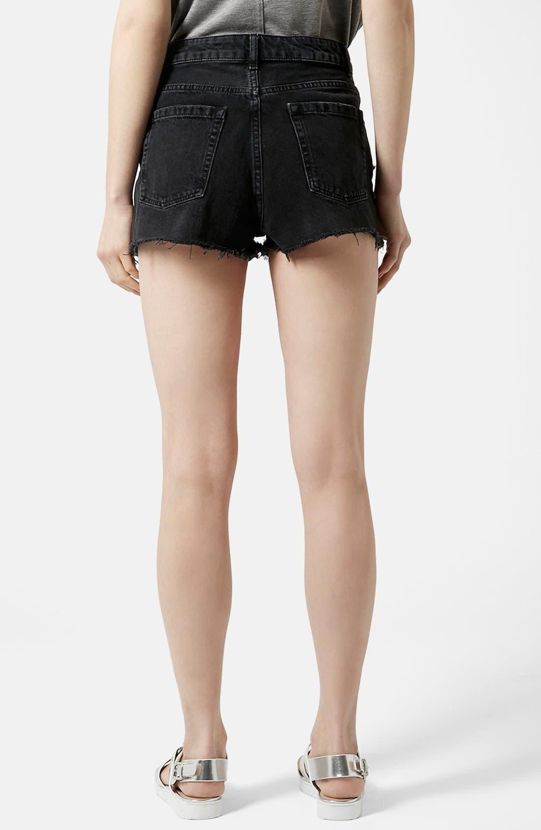 Alternate Image 2  - Topshop Moto Ripped Shorts (Black)