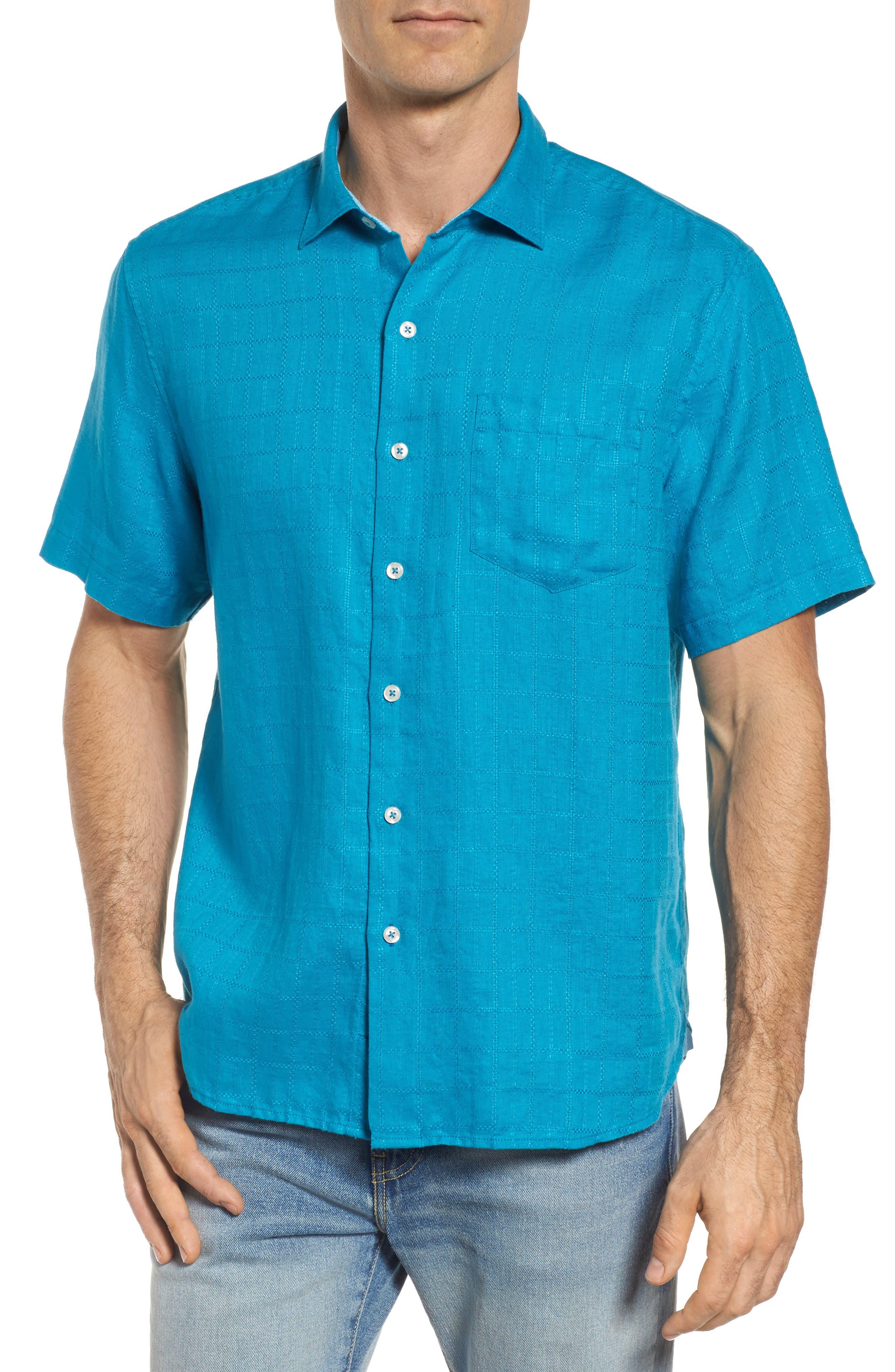 Costa Sera Linen Sport Shirt,                         Main,                         color, Tropical Turquoise