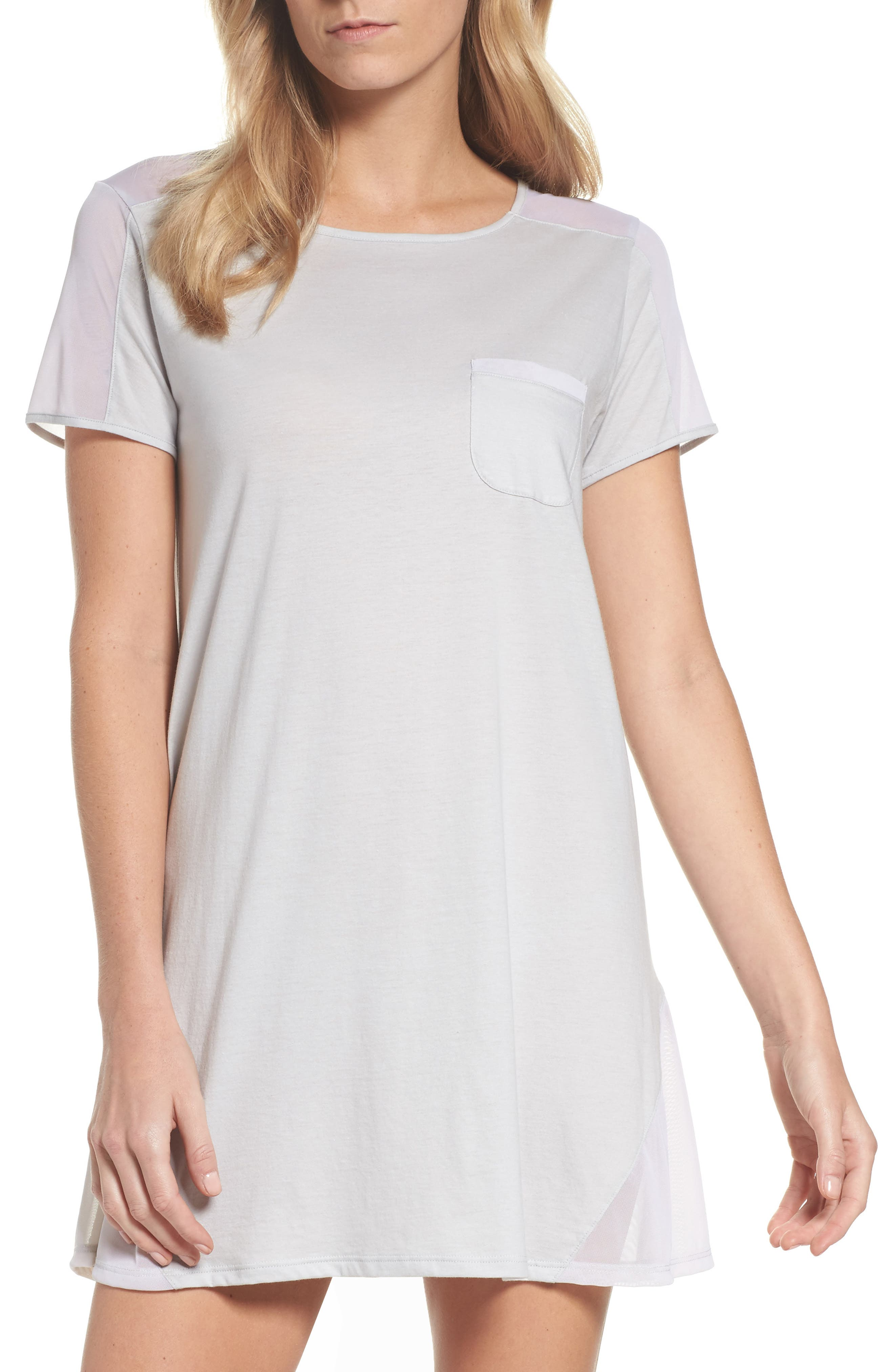 Cotton Sleep Shirt,                             Main thumbnail 1, color,                             Soft Gray