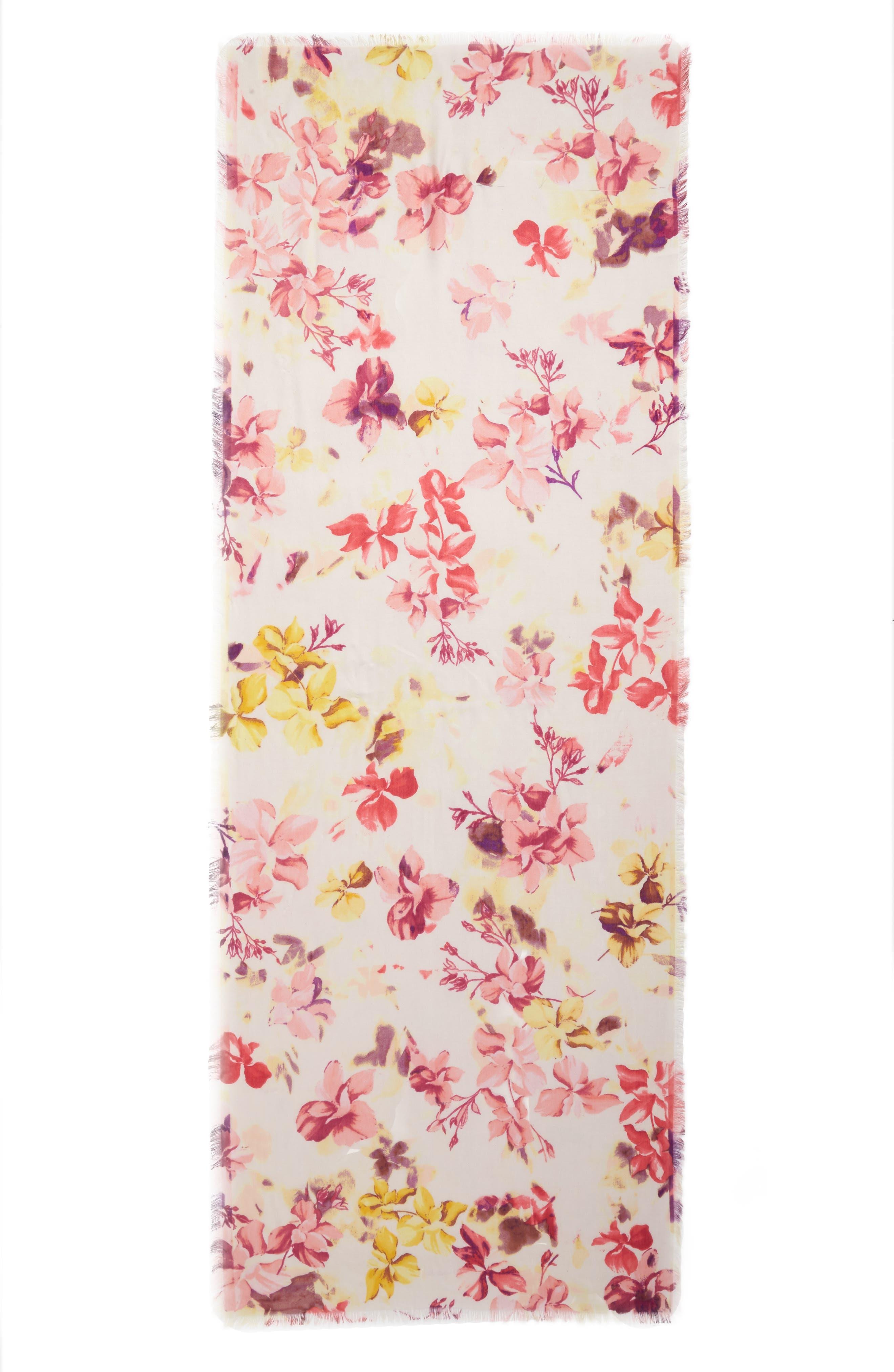 Eyelash Trim Print Cashmere & Silk Wrap,                             Alternate thumbnail 3, color,                             Pink Frosted Petals