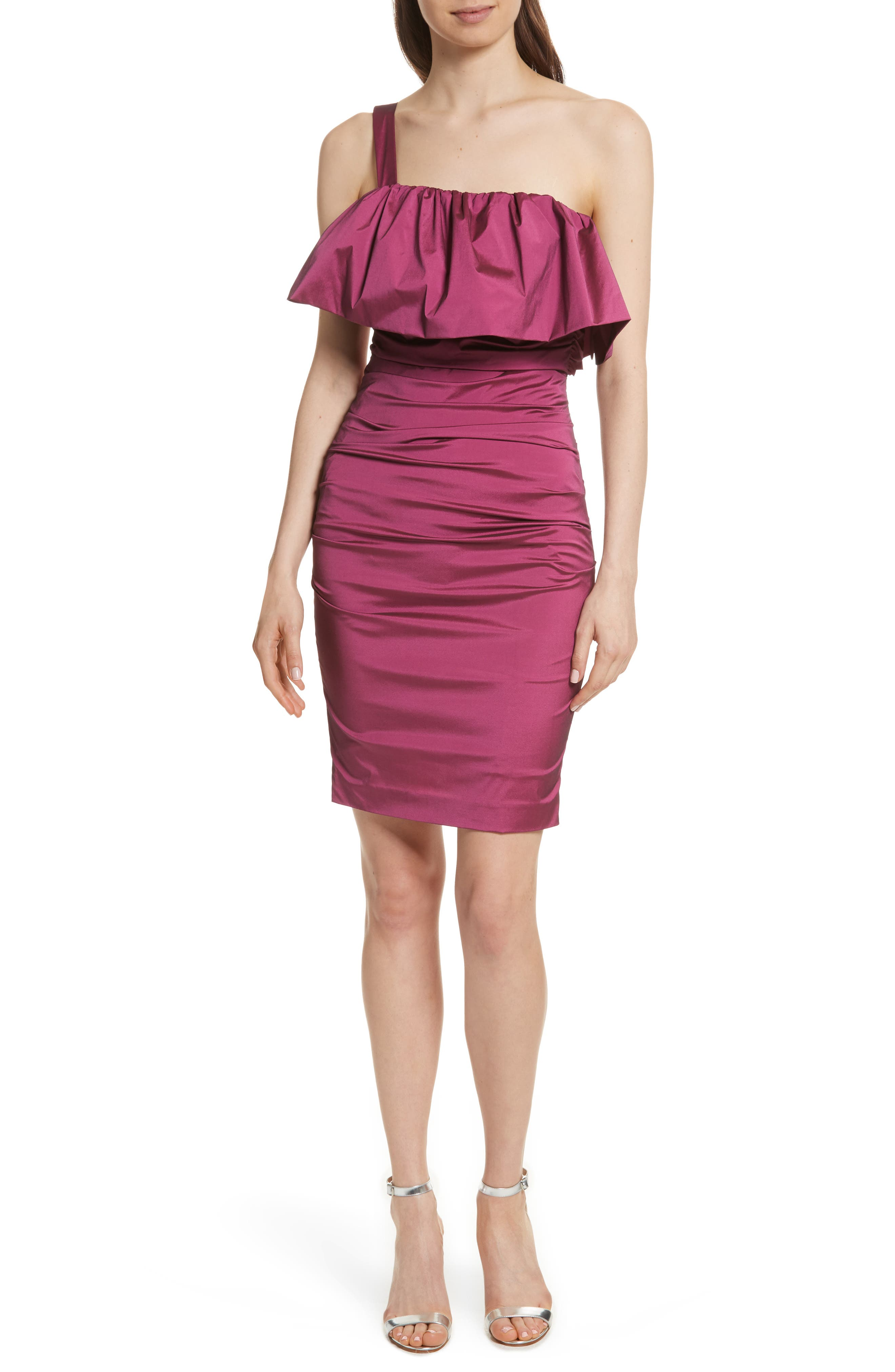 Frilled Column Dress,                             Main thumbnail 1, color,                             Vixen