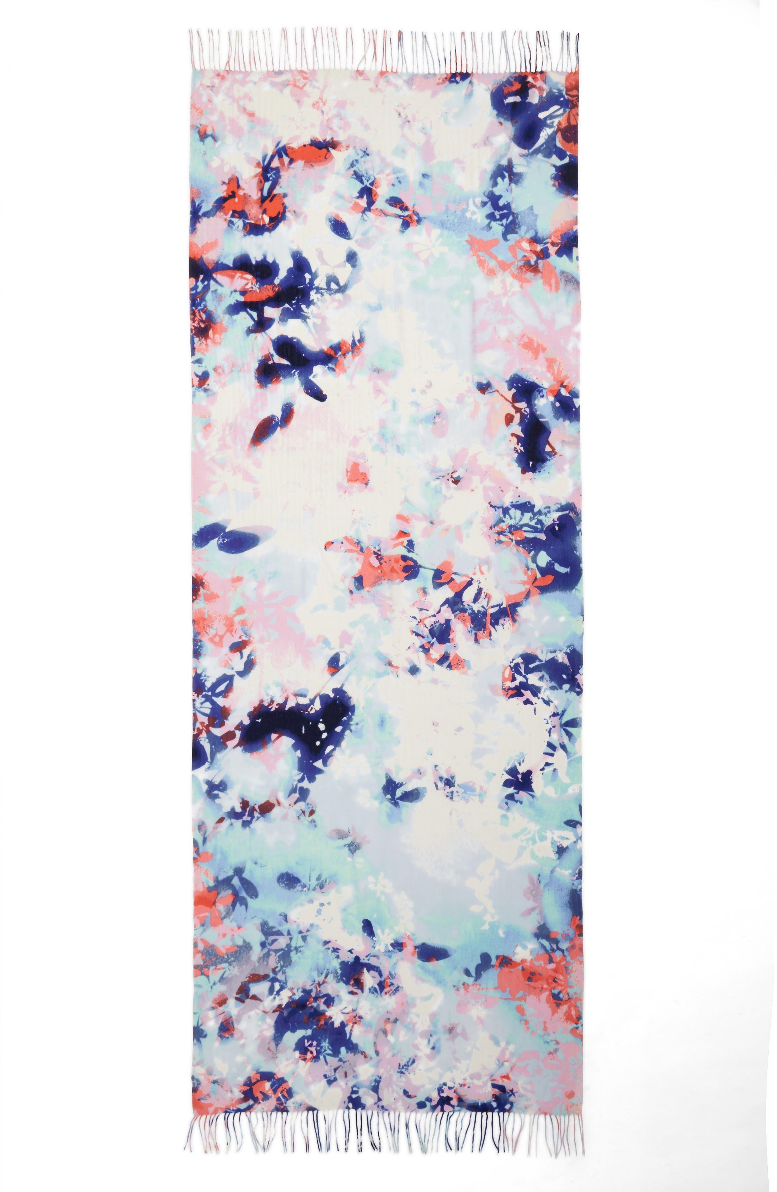 Tissue Print Wool & Cashmere Wrap Scarf,                             Alternate thumbnail 3, color,                             Blue Hidden Floral