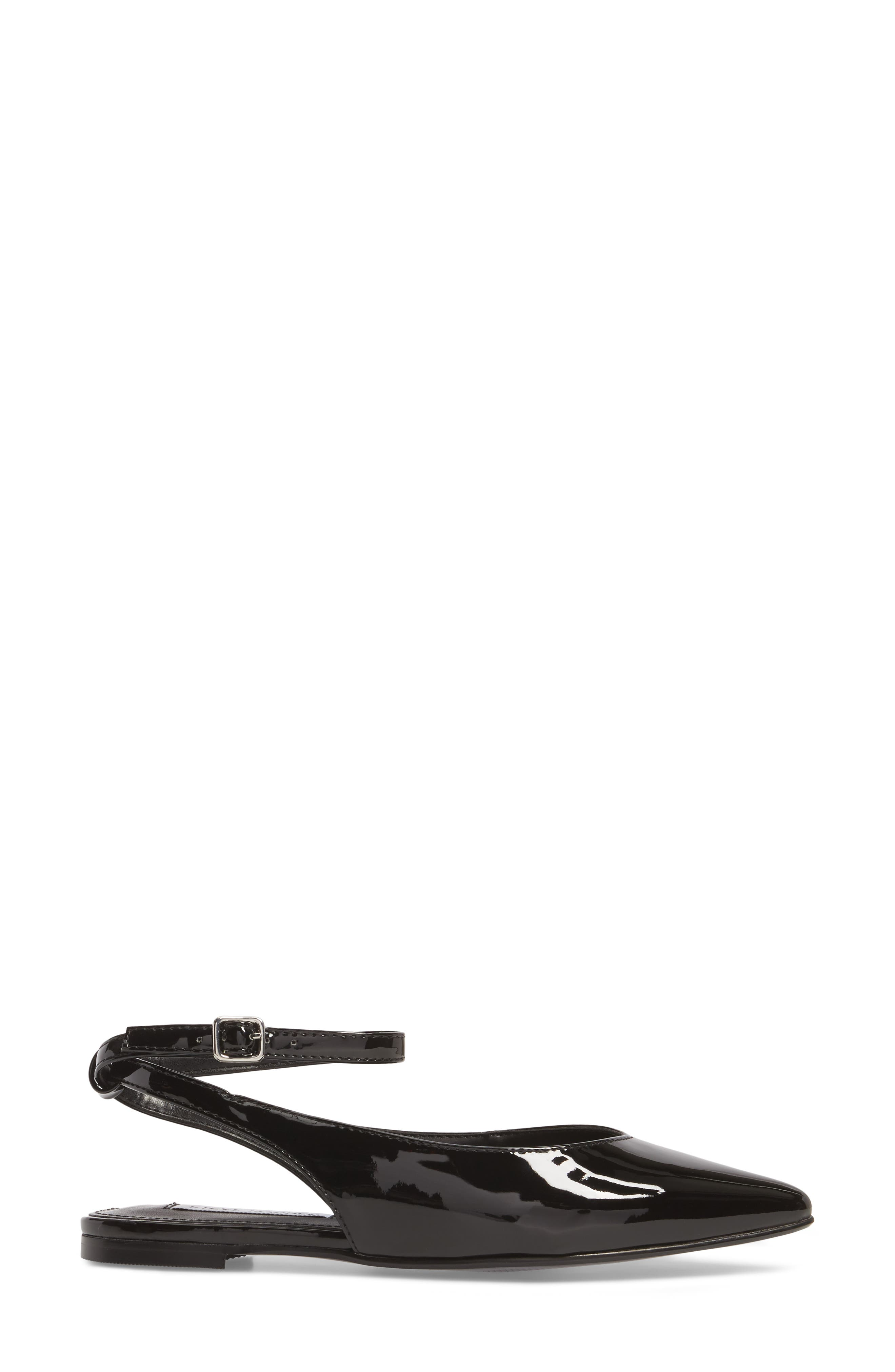 Cupid Ankle Strap Flat,                             Alternate thumbnail 3, color,                             Black Patent Leather