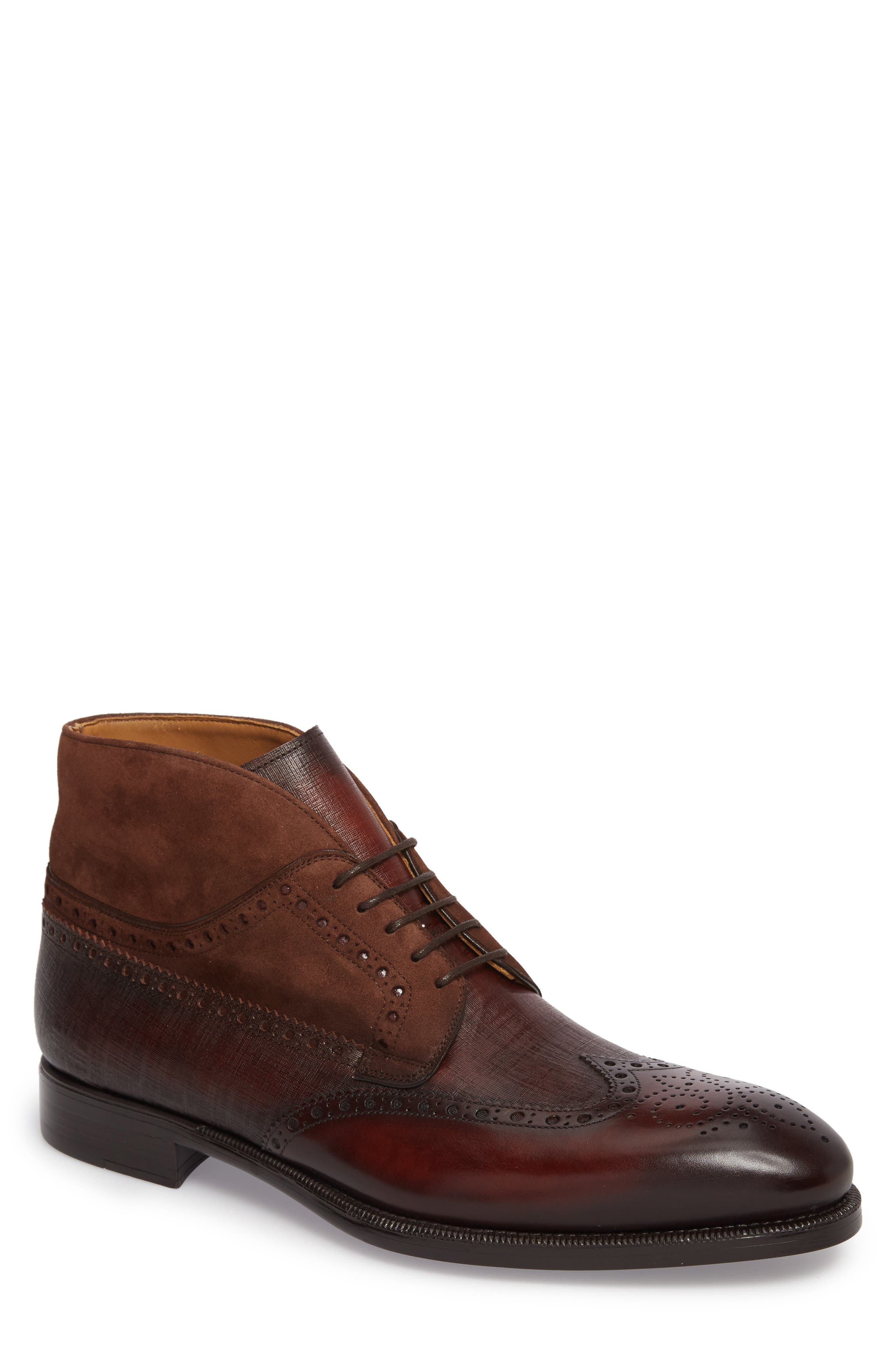 Saxon Wingtip Boot,                             Main thumbnail 1, color,                             Mid-Brown Leather