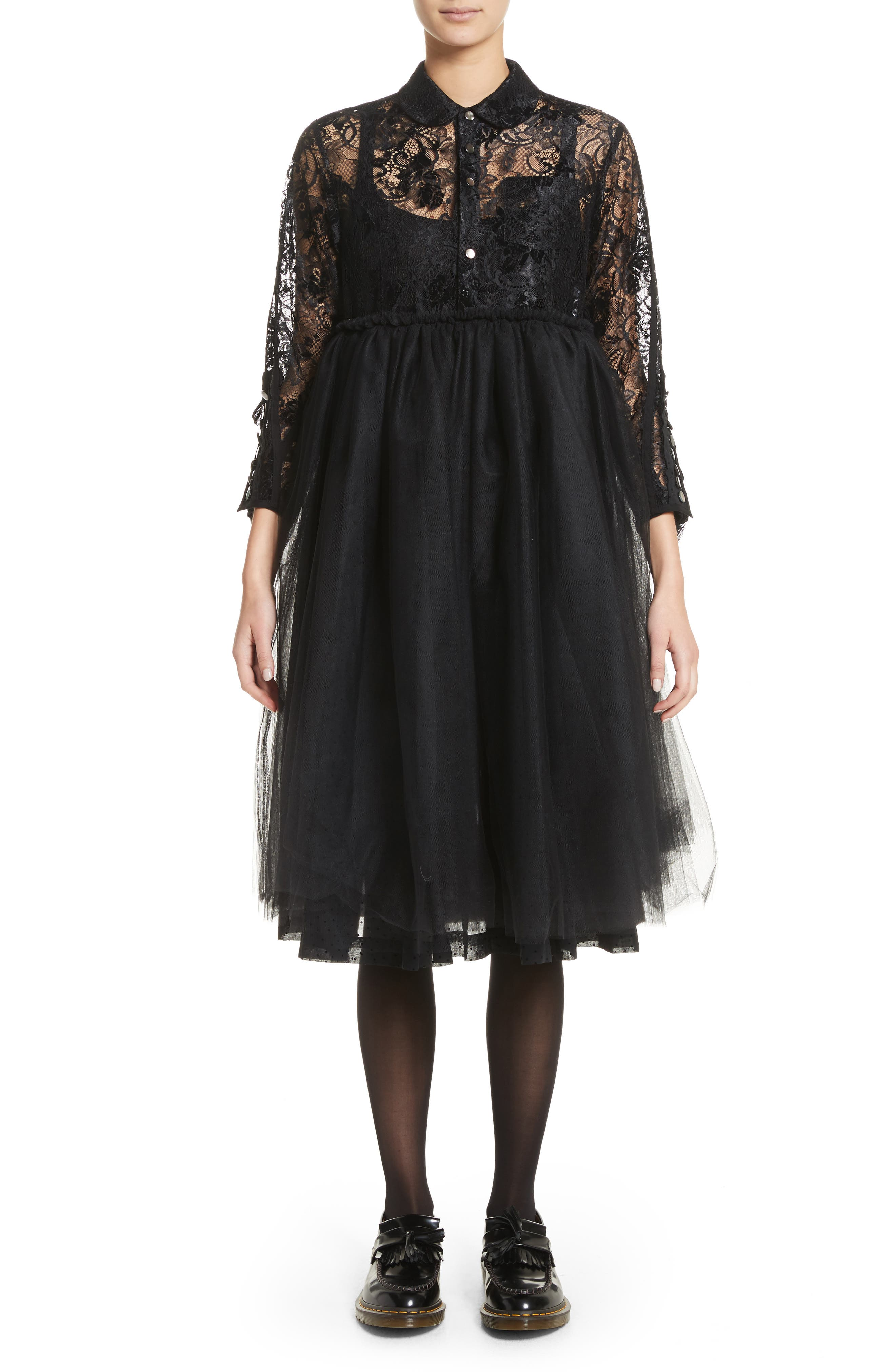 Lace Bodice Shirtdress with Tulle Skirt,                             Main thumbnail 1, color,                             Blk/Blk X Blk