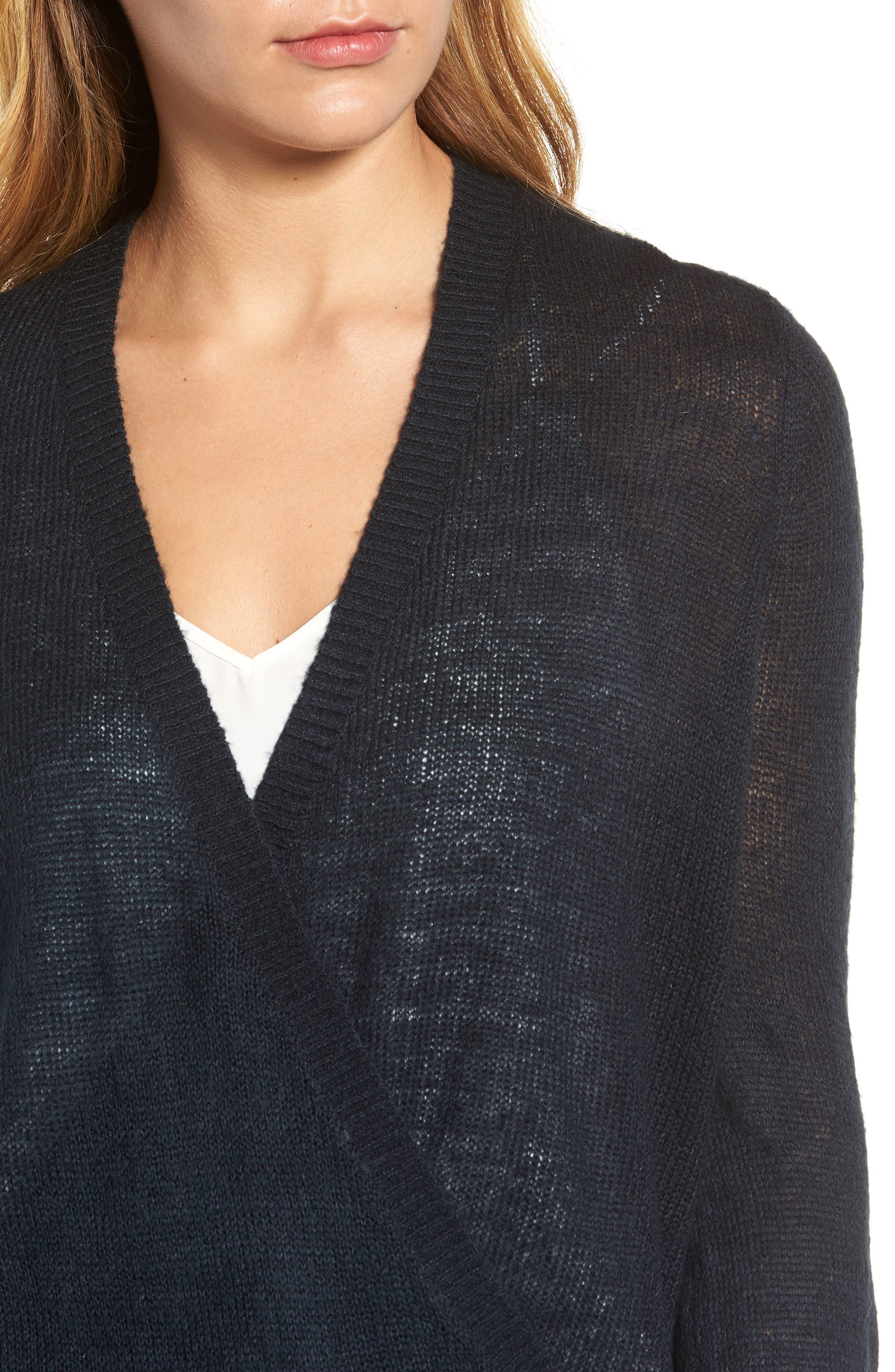 V-Neck Wrap Sweater,                             Alternate thumbnail 4, color,                             Deepest Navy