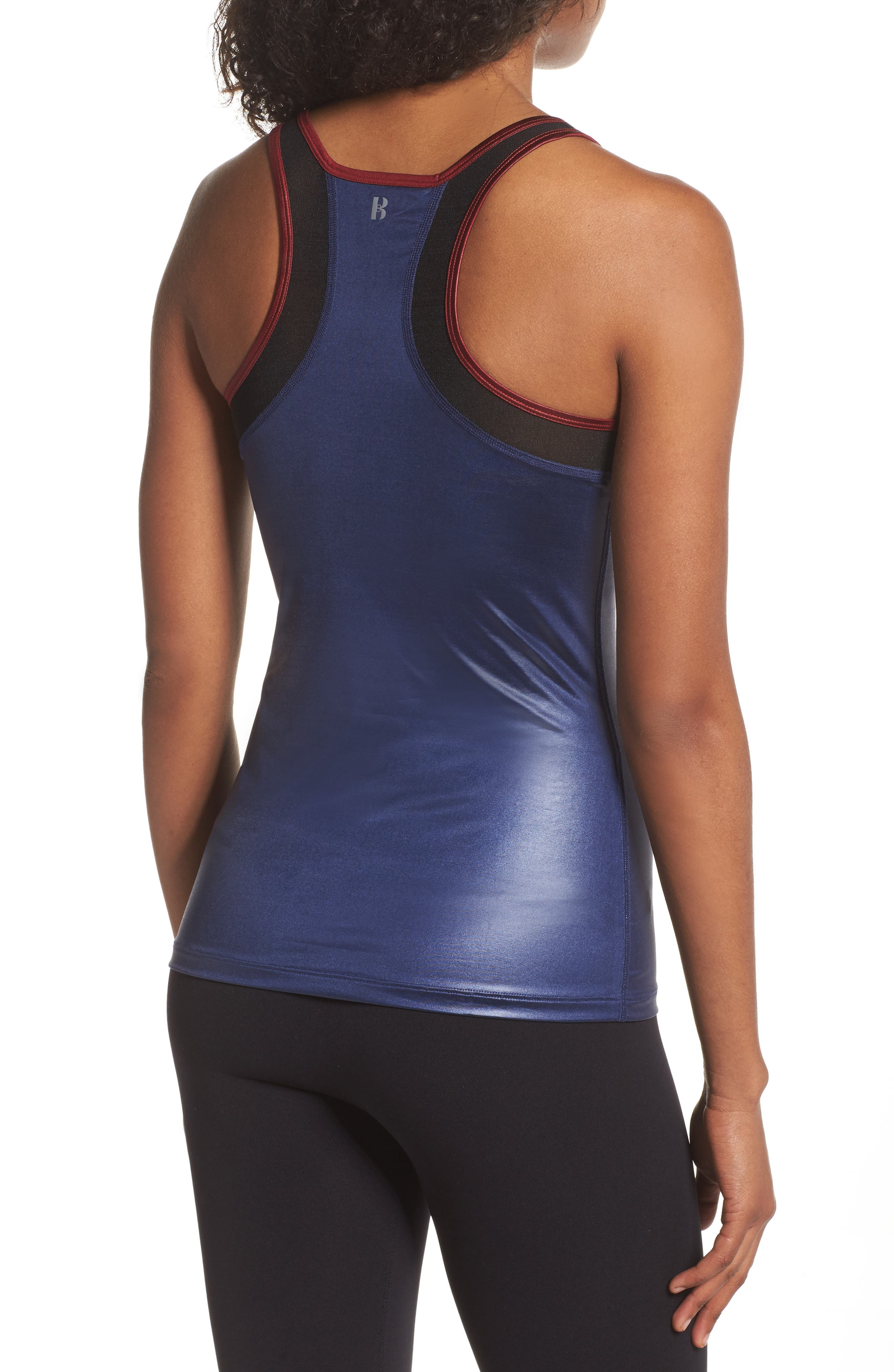 BoomBoom Athletica Glossy Tank,                             Alternate thumbnail 2, color,                             Navy/Oxblood