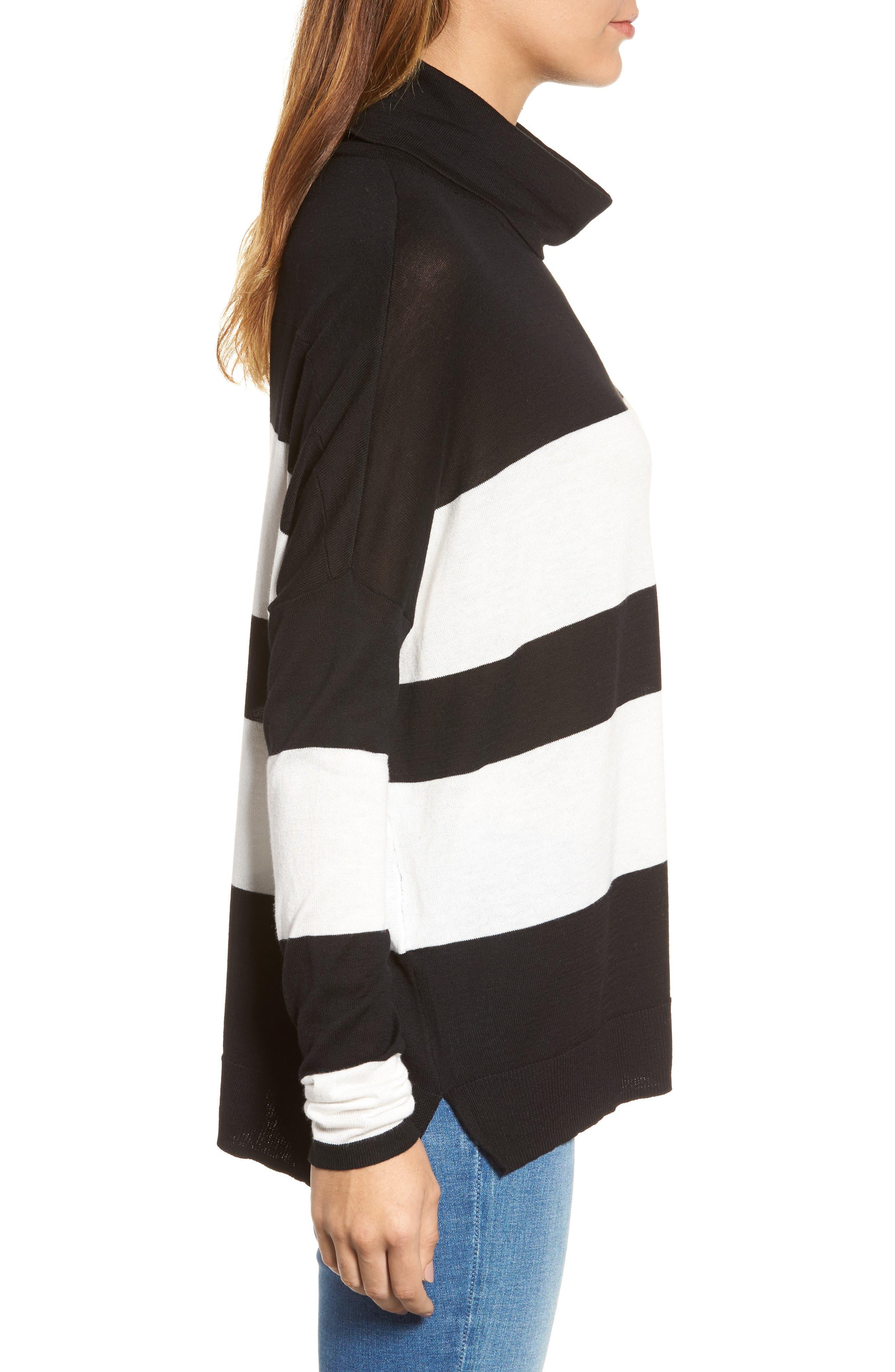 Wide Stripe Turtleneck Sweater,                             Alternate thumbnail 3, color,                             Black Cream