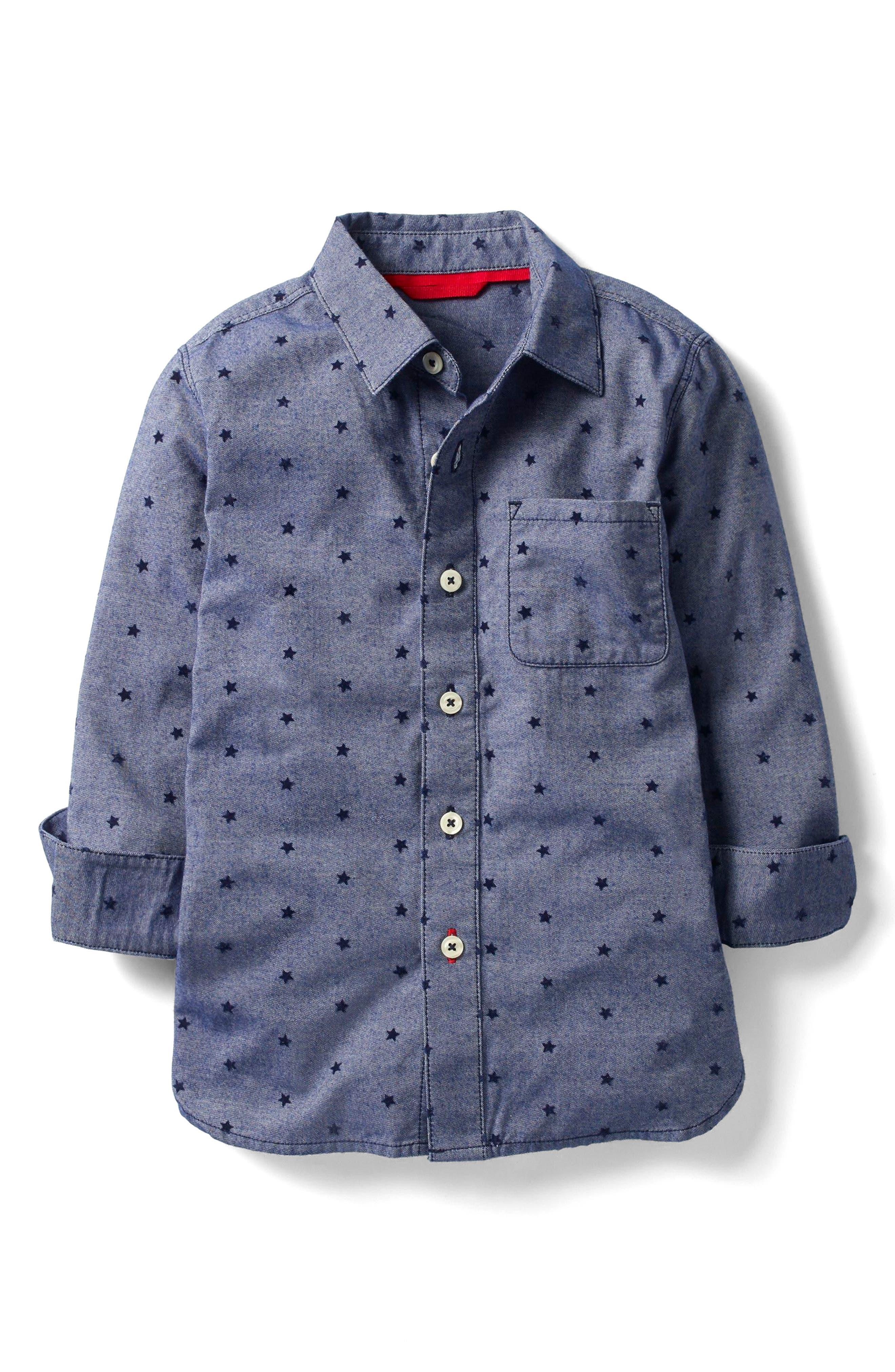 Mini Boden Festive Flocked Star Shirt (Toddler Boys, Little Boys & Big Boys)