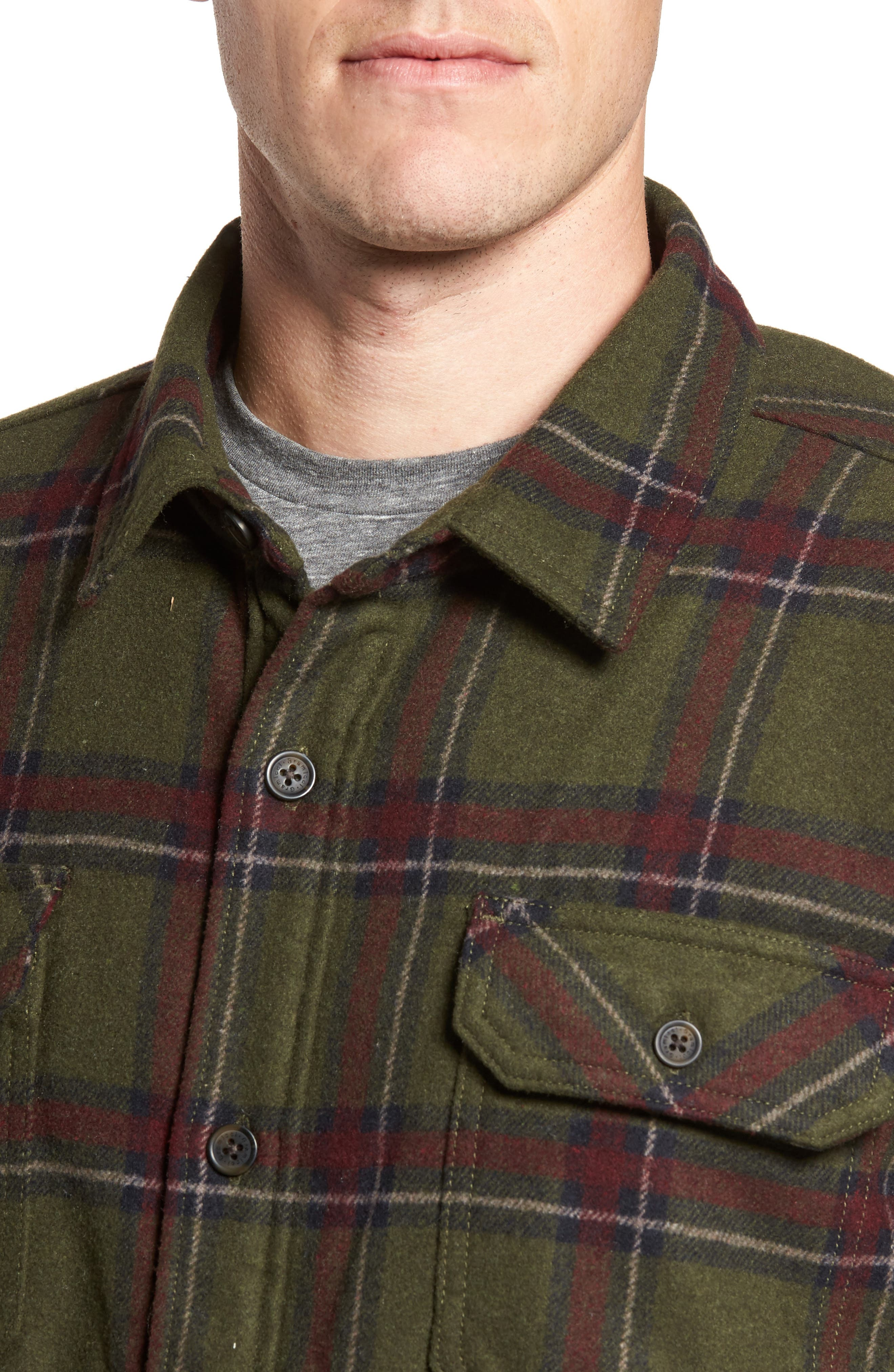 Tough Guy Plush Lined Flannel Shirt Jacket,                             Alternate thumbnail 5, color,                             Olive