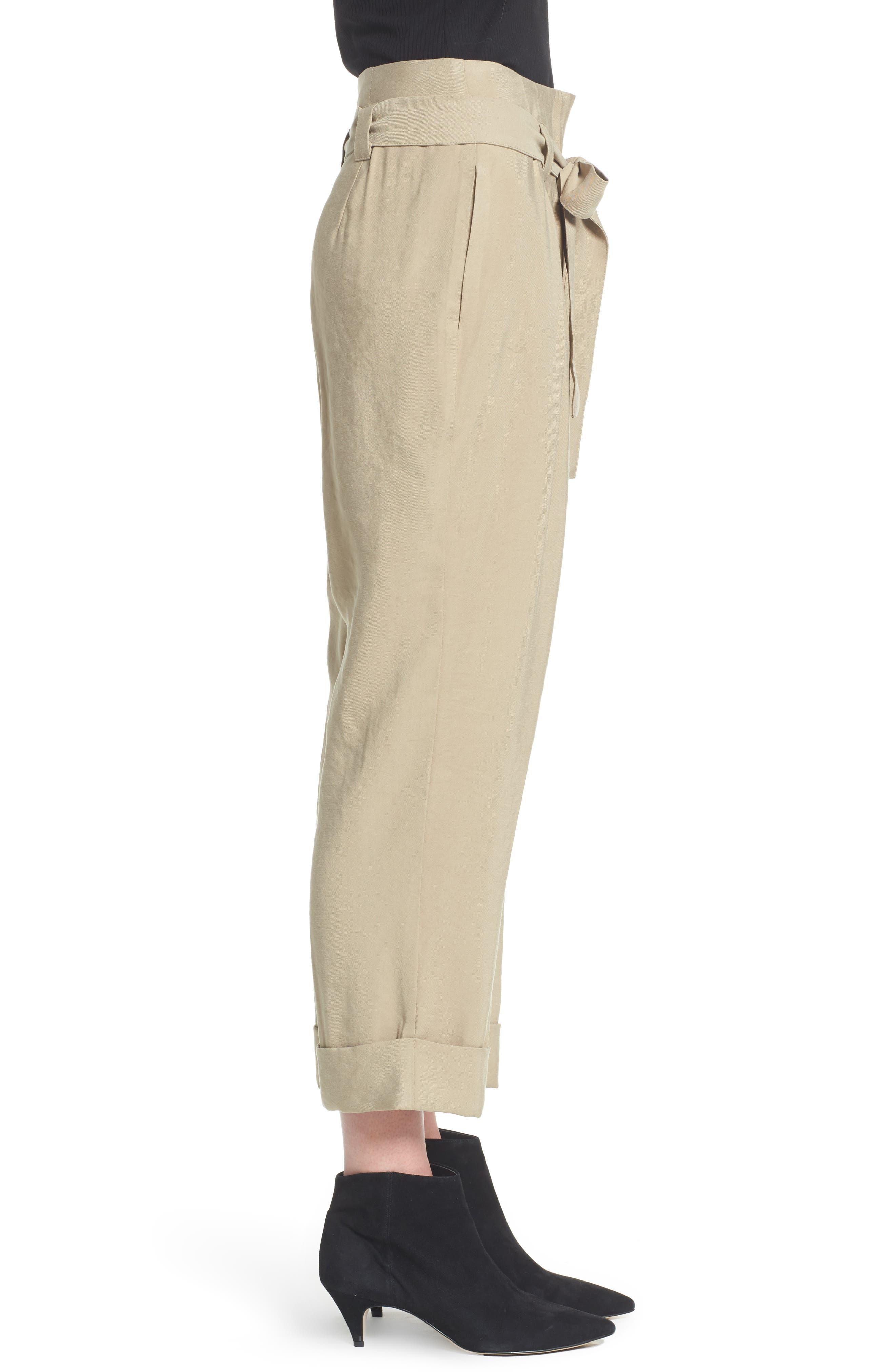 High Waist Tie Front Cropped Pants,                             Alternate thumbnail 3, color,                             Latte