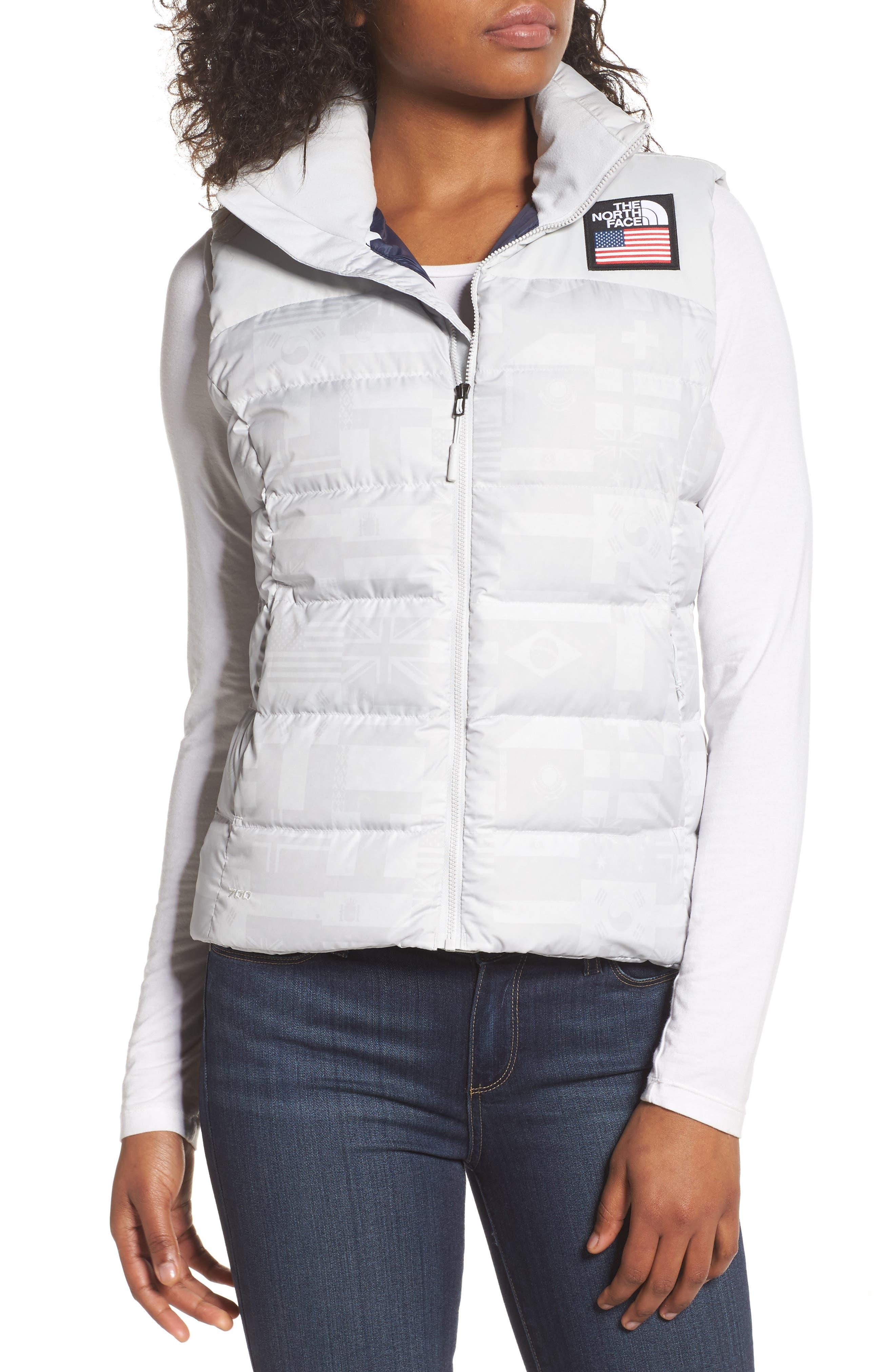 International Collection Nuptse 700-Fill Power Down Puffer Vest,                         Main,                         color, Glacier Grey Flag Print