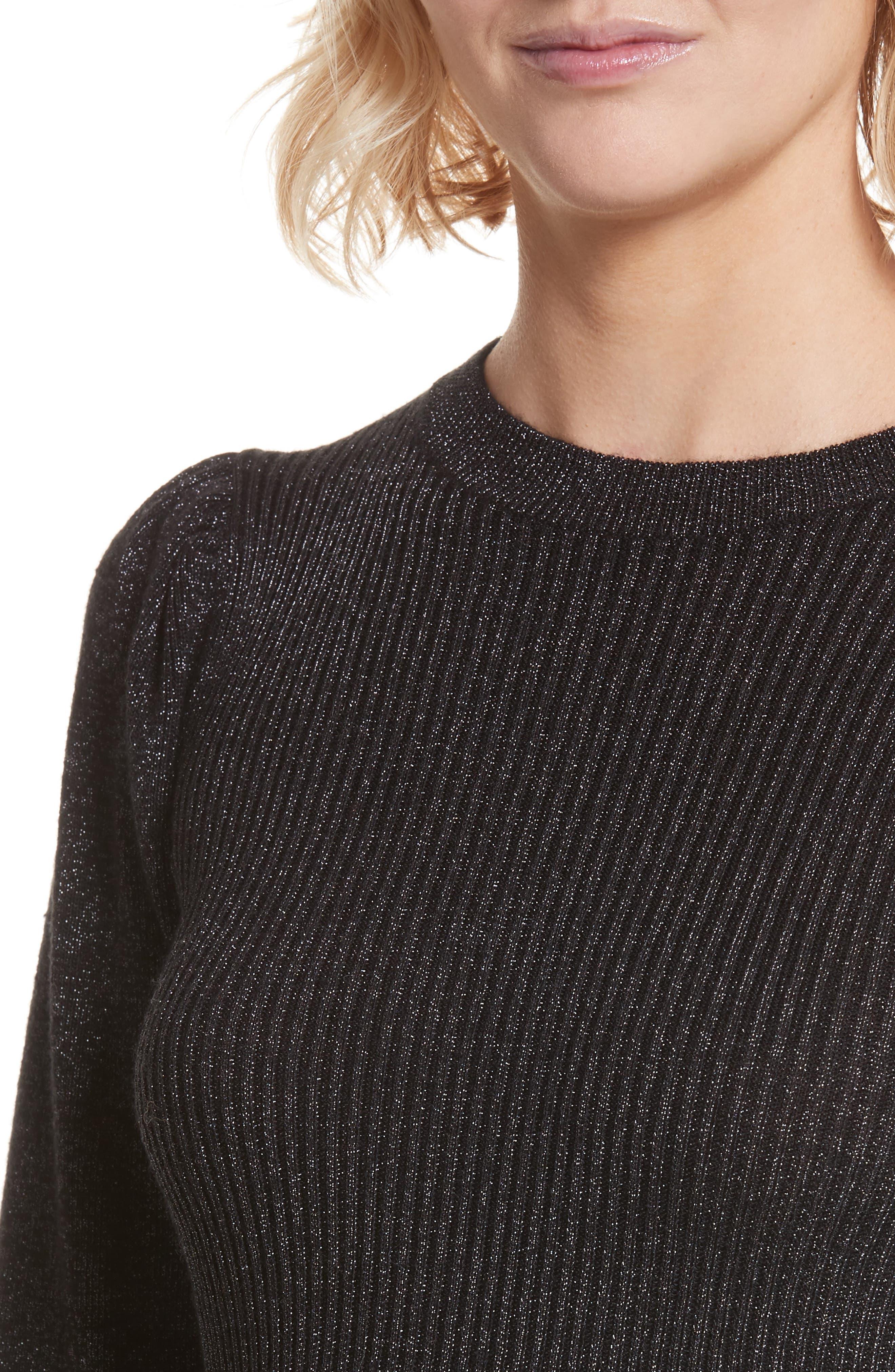 Metallic Ribbed Pullover,                             Alternate thumbnail 4, color,                             Black Combo