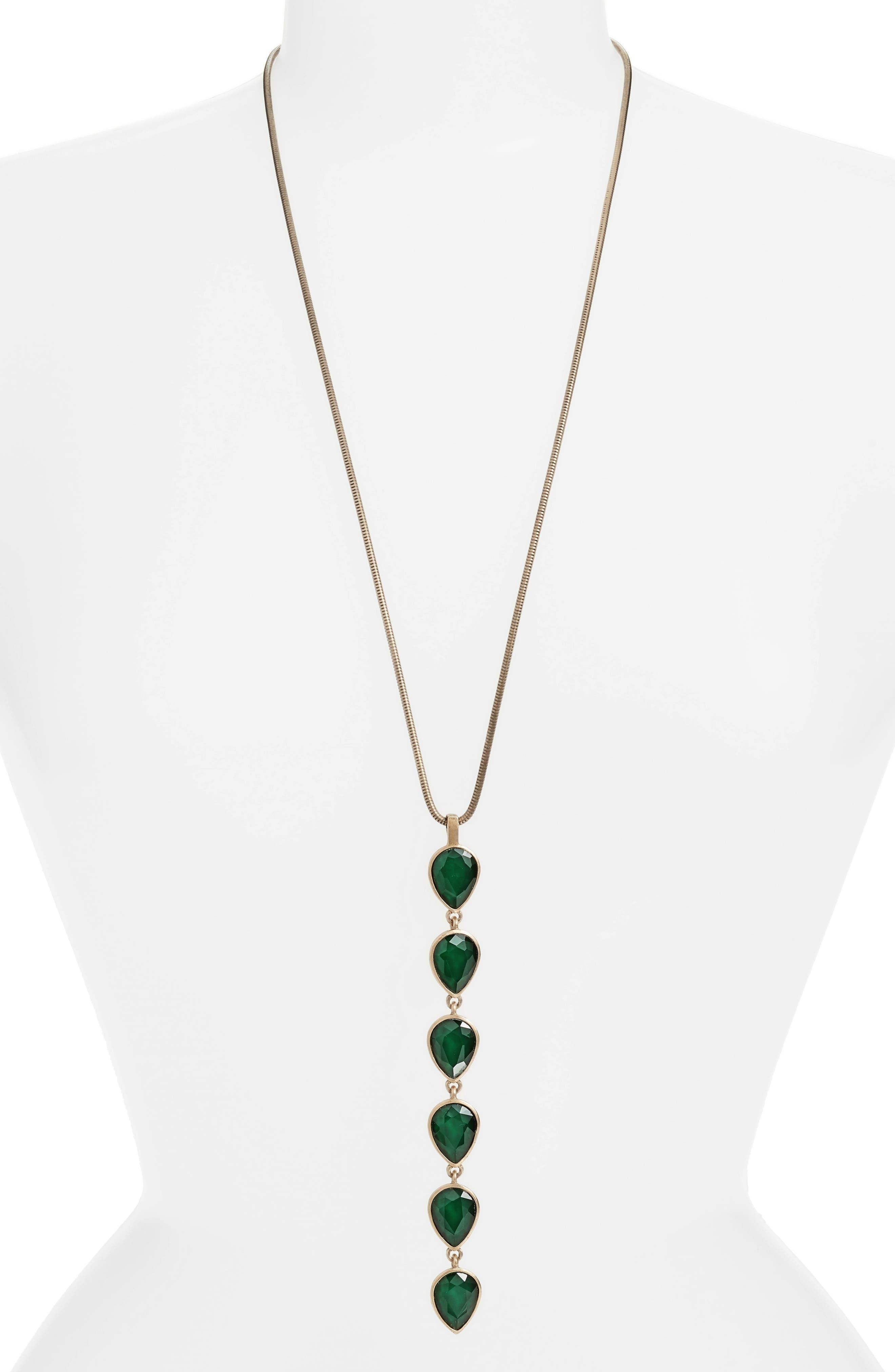 Sydney Y-Necklace,                         Main,                         color, Emerald