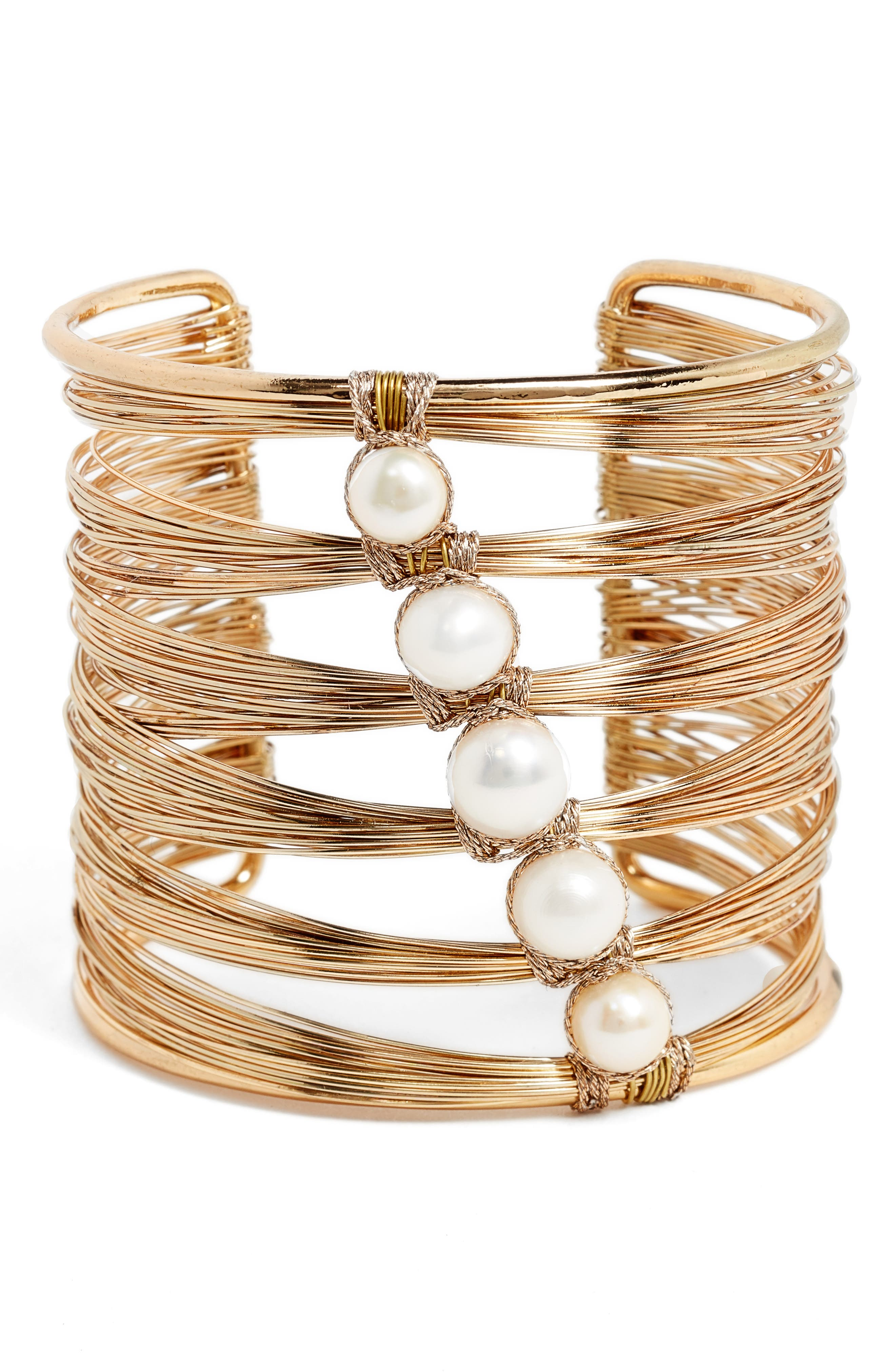 Freshwater Pearl Wire Cuff,                         Main,                         color, Gold