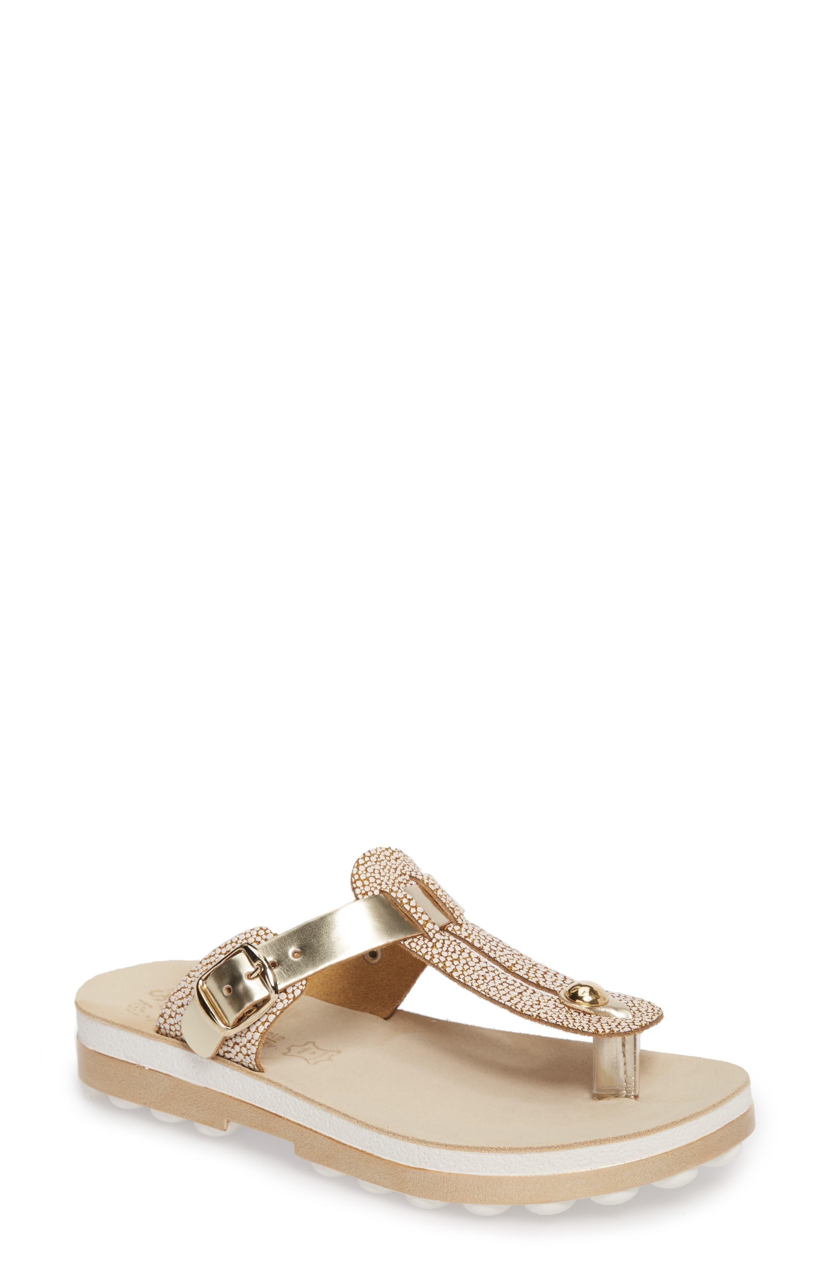 Mirabella Fantasy Sandal,                         Main,                         color, Gold Caviar Leather