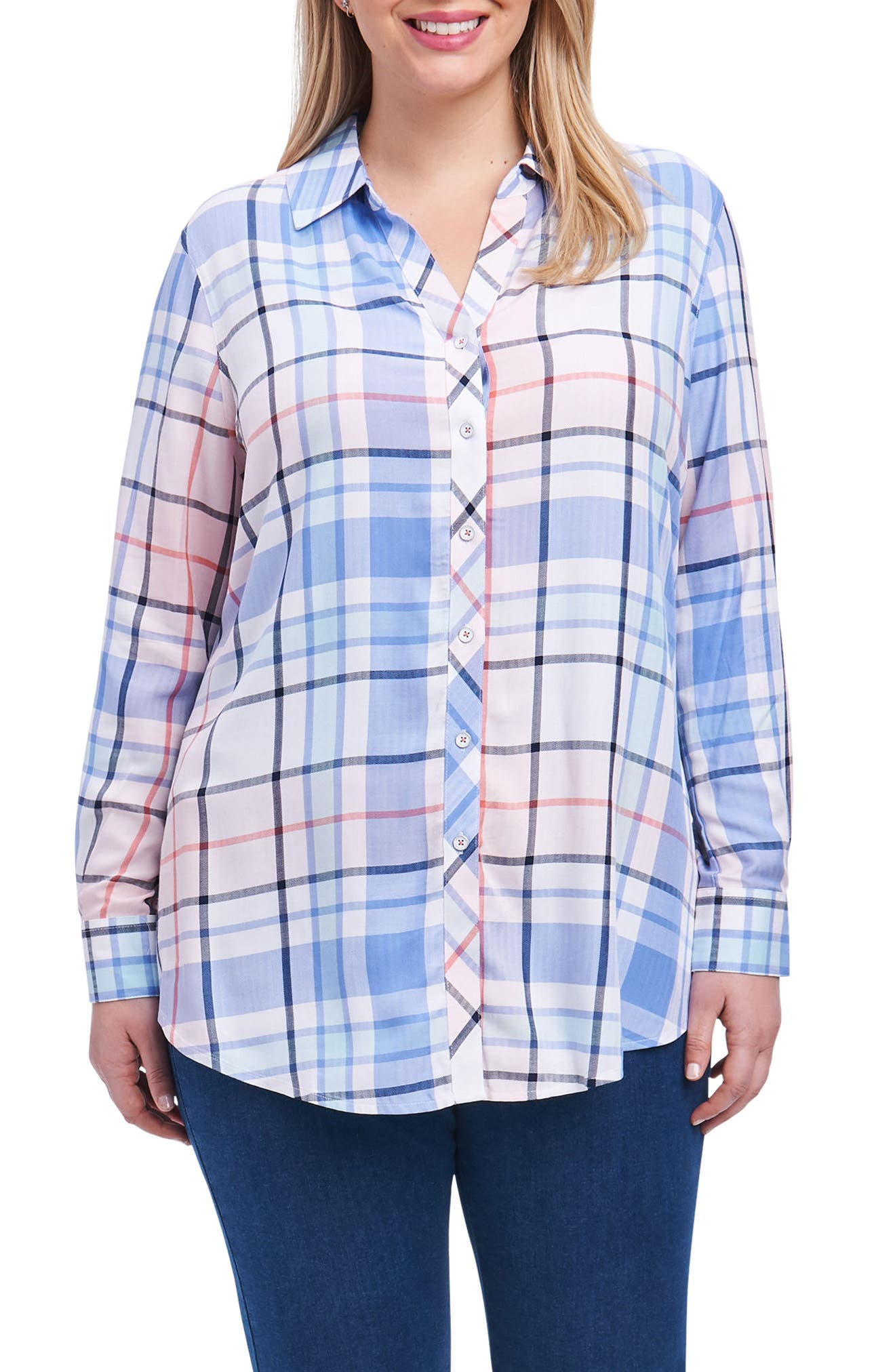 Zena Button Down Tunic Top,                         Main,                         color, Multi Plaid