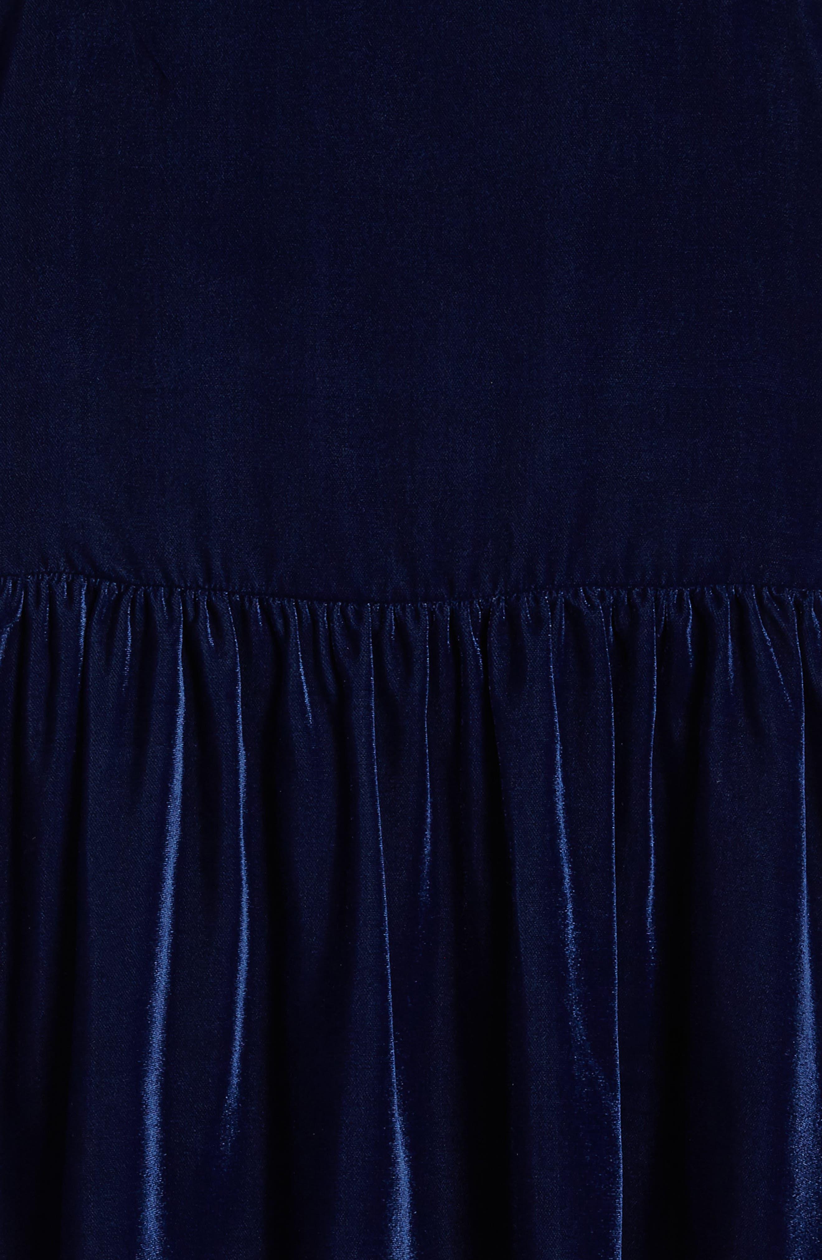 Velvet Drop Waist Dress,                             Alternate thumbnail 3, color,                             Navy Medieval