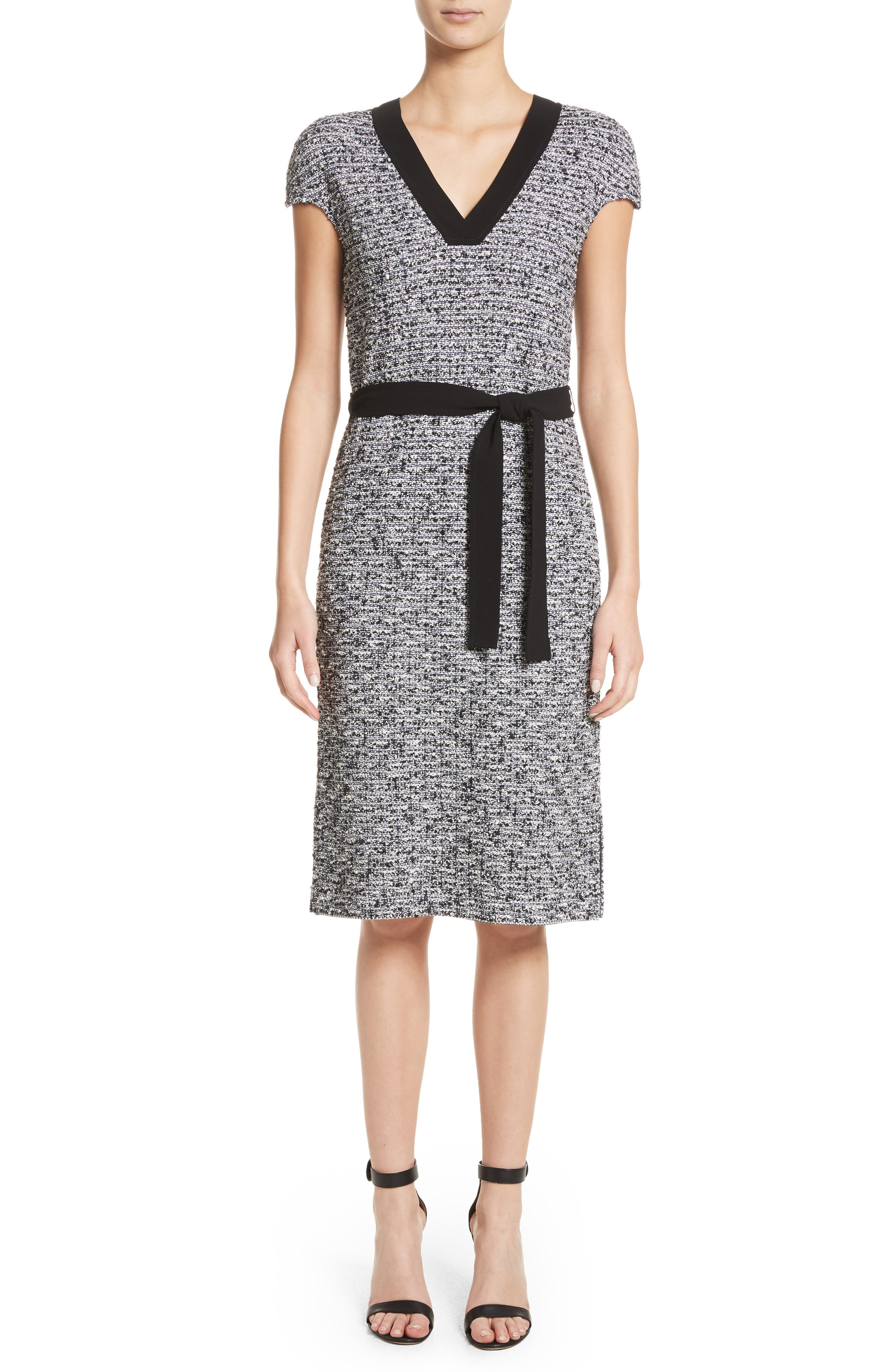 Micro Tweed Belted Dress,                         Main,                         color, Caviar Multi