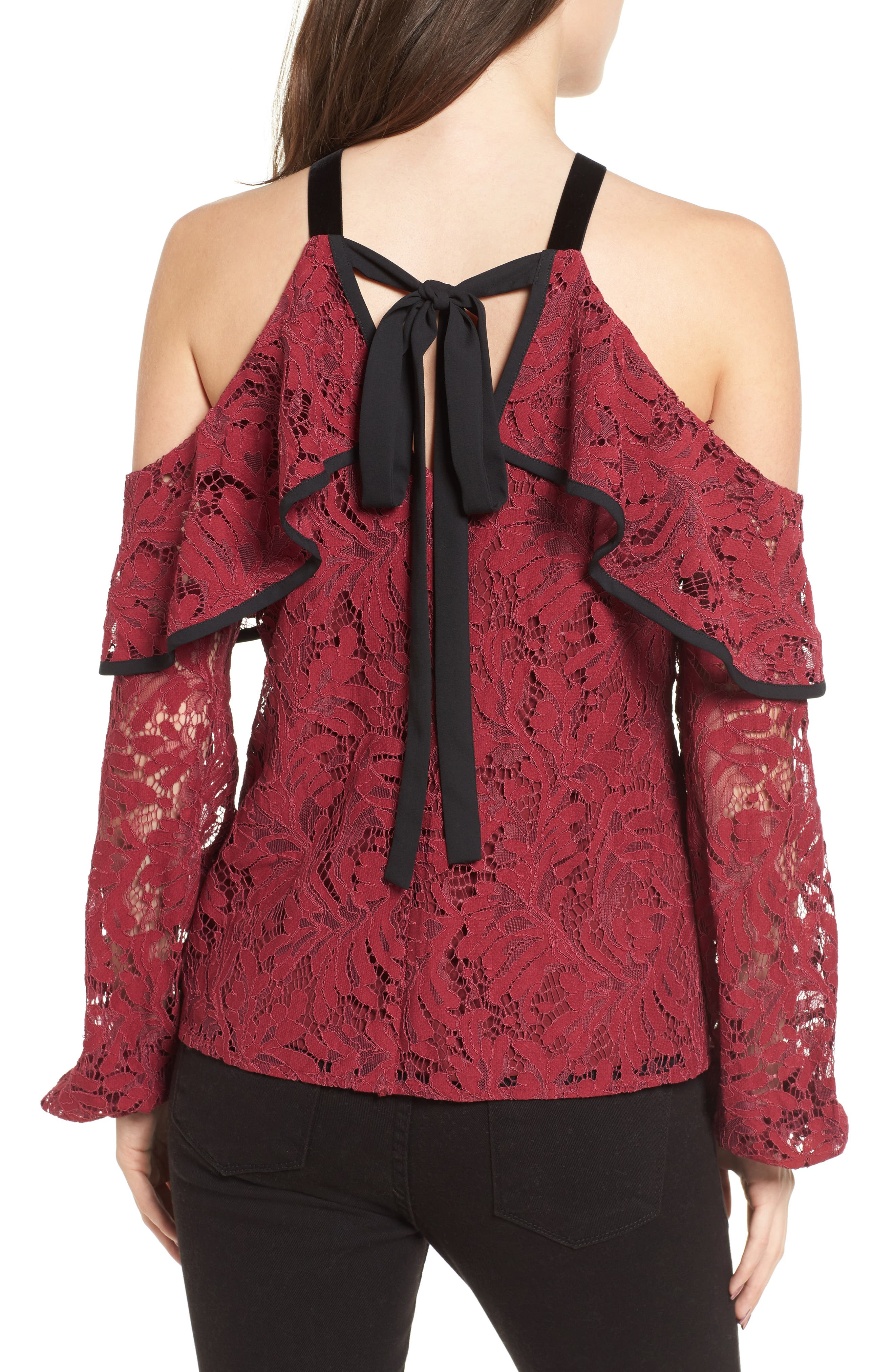 Helena Lace Top,                             Alternate thumbnail 2, color,                             Burgundy