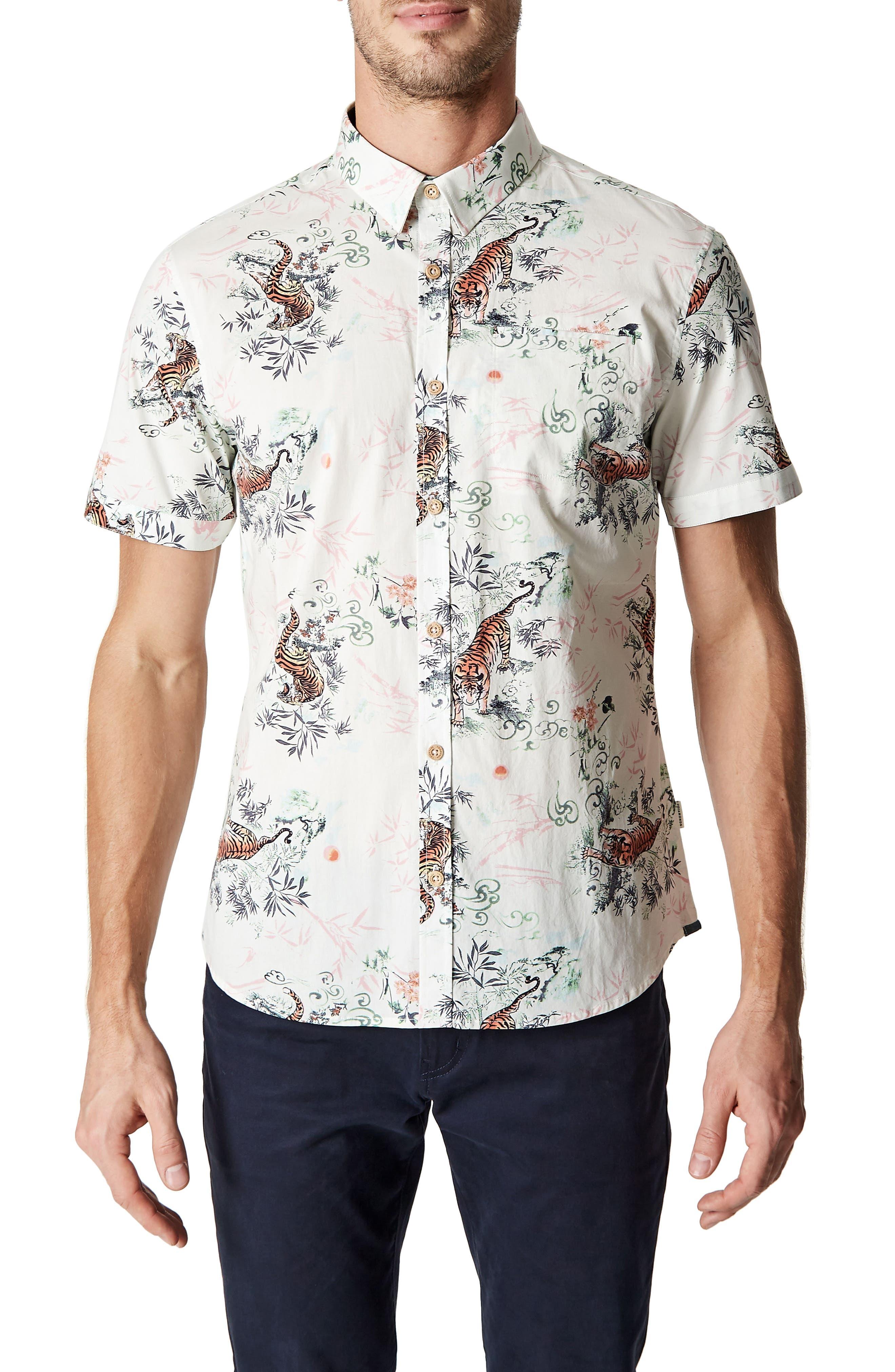 Wild Thoughts Tiger Print Woven Shirt,                         Main,                         color, Natural